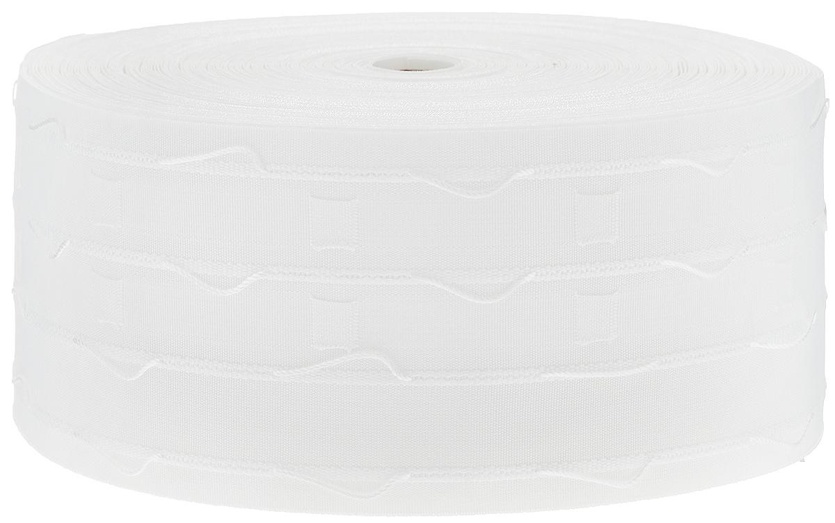 Тесьма для штор ТД Текстиль Буф, цвет: белый, 10 х 5000 см87776Тесьма для штор ТД Текстиль Буф выполнена из 100% полиэстера. Тесьма для штор - это лента, имеющая вид тканой или сетчатой полоски, в которой через определенные интервалы протянуты плотные нити или шнуры, которые и отвечают за ритм и шаг полученных складок. Используя тесьму, можно драпировать почти все виды штор: тюль, портьеры, гардины, ламбрекены и занавески. Длина тесьмы: 50 м. Ширина тесьмы: 10 см.