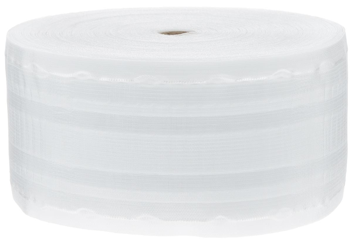 Тесьма для штор ТД Текстиль Буф, цвет: прозрачный, 10 х 5000 см86929Тесьма для штор ТД Текстиль Буф выполнена из 100% полиэстера. Тесьма для штор - это лента, имеющая вид тканой или сетчатой полоски, в которой через определенные интервалы протянуты плотные нити или шнуры, которые и отвечают за ритм и шаг полученных складок. Используя тесьму, можно драпировать почти все виды штор: тюль, портьеры, гардины, ламбрекены и занавески. Длина тесьмы: 50 м. Ширина тесьмы: 10 см.