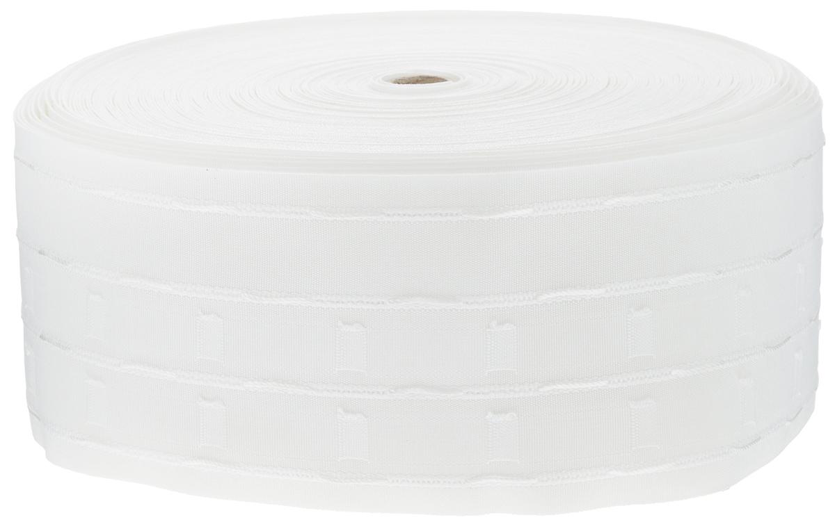 Тесьма для штор ТД Текстиль Бабочка, цвет: белый, 10 х 5000 см87774Тесьма для штор ТД Текстиль Бабочка выполнена из 100% полиэстера. Тесьма для штор - это лента, имеющая вид тканой или сетчатой полоски, в которой через определенные интервалы протянуты плотные нити или шнуры, которые и отвечают за ритм и шаг полученных складок. Используя тесьму, можно драпировать почти все виды штор: тюль, портьеры, гардины, ламбрекены и занавески. Длина тесьмы: 50 м. Ширина тесьмы: 10 см.