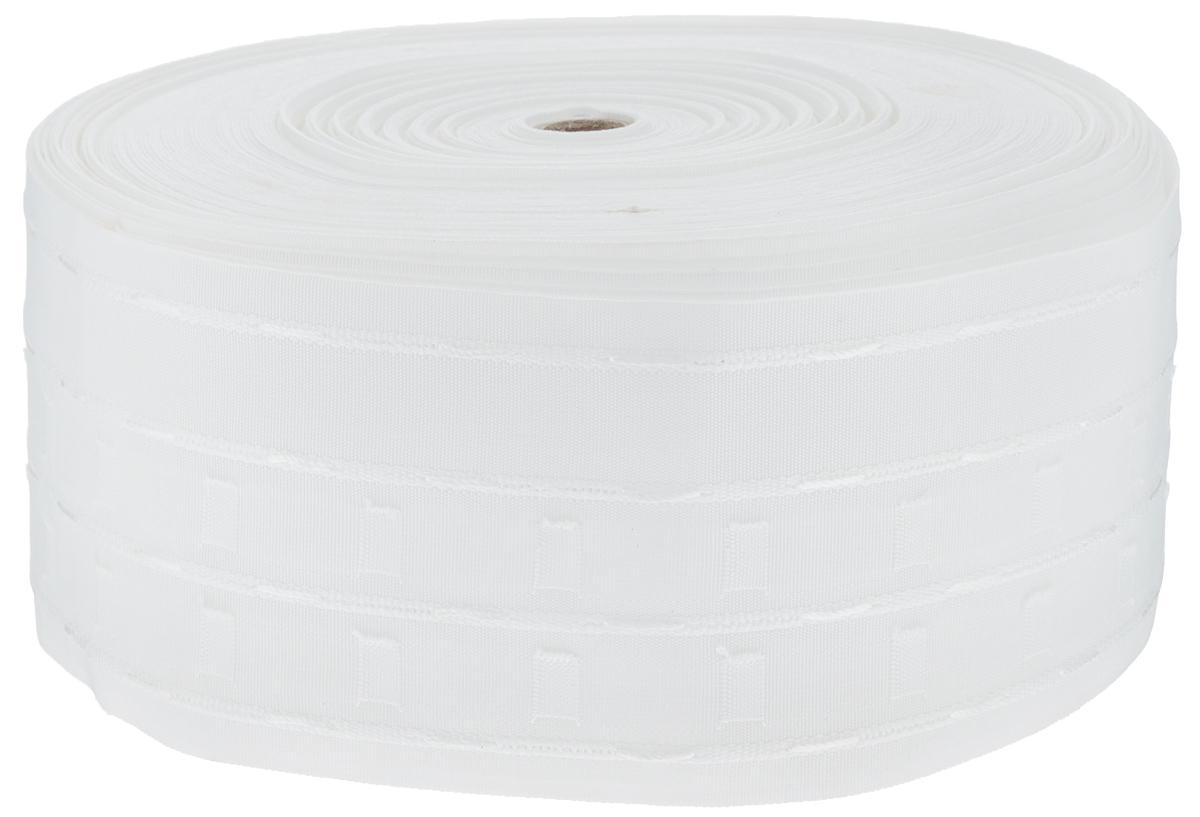 Тесьма для штор ТД Текстиль Тюльпан, цвет: белый, 10 см х 50 м87773Тесьма для штор ТД Текстиль Тюльпан выполнена из 100% полиэстера. Тесьма для штор - это лента, имеющая вид тканой или сетчатой полоски, в которой через определенные интервалы протянуты плотные нити или шнуры, которые и отвечают за ритм и шаг полученных складок. Используя тесьму, можно драпировать почти все виды штор: тюль, портьеры, гардины, ламбрекены и занавески. Длина тесьмы: 50 м. Ширина тесьмы: 10 см.