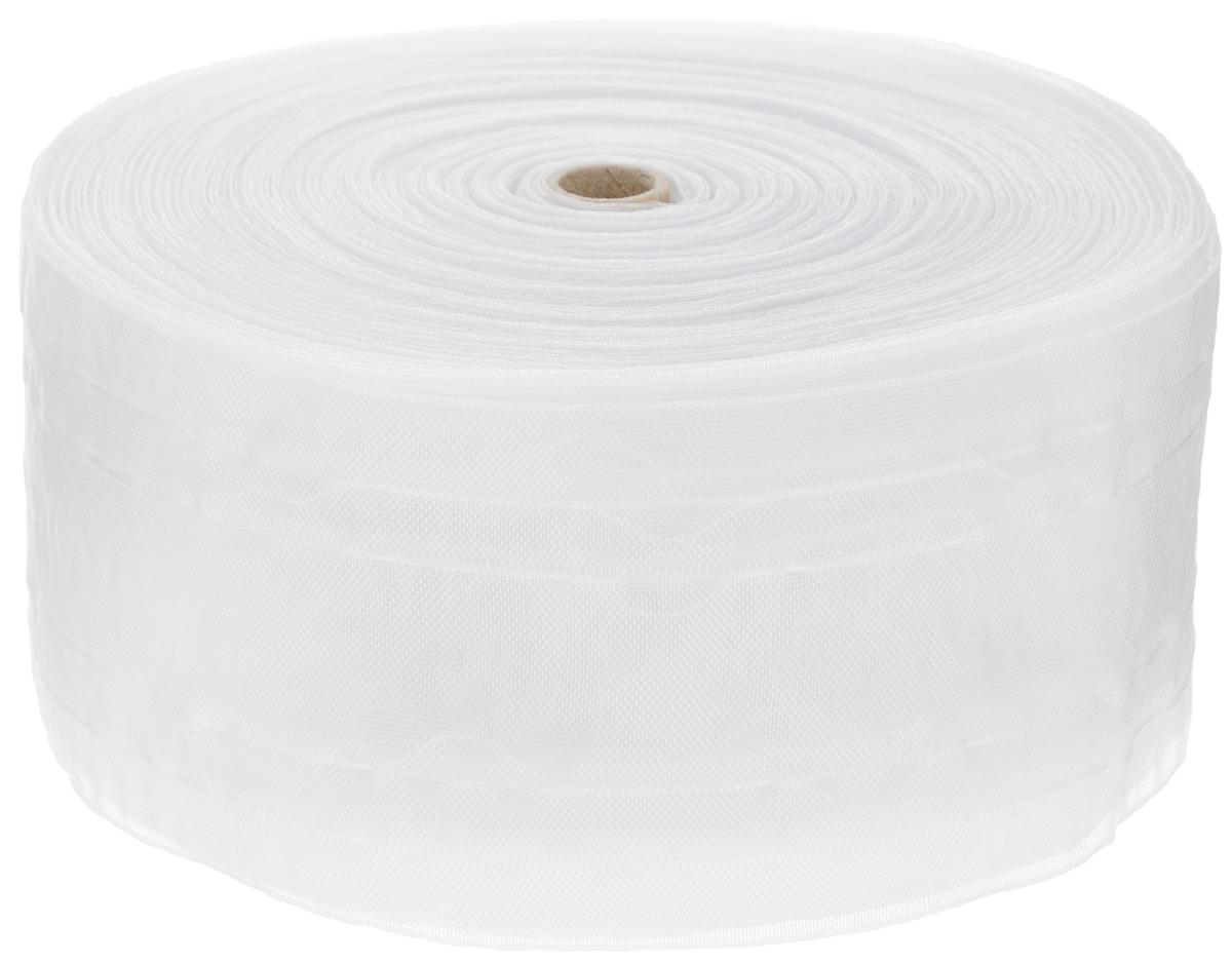 Тесьма для штор ТД Текстиль Классика, цвет: прозрачный, 10 см х 50 м86926Тесьма для штор ТД Текстиль Классика выполнена из 100% полиэстера. Тесьма для штор - это лента, имеющая вид тканой или сетчатой полоски, в которой через определенные интервалы протянуты плотные нити или шнуры, которые и отвечают за ритм и шаг полученных складок. Используя тесьму, можно драпировать почти все виды штор: тюль, портьеры, гардины, ламбрекены и занавески. Длина тесьмы: 50 м. Ширина тесьмы: 10 см.