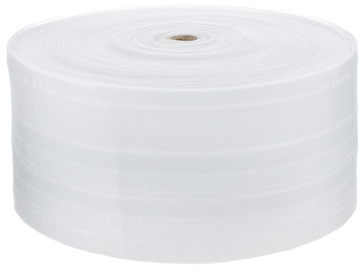Тесьма для штор ТД Текстиль Лодочка, цвет: прозрачный, 10 см х 50 м86928Тесьма для штор ТД Текстиль Лодочка выполнена из 100% полиэстера. Тесьма для штор – это лента, имеющая вид тканой или сетчатой полоски, в которой через определенные интервалы протянуты плотные нити или шнуры, которые и отвечают за ритм и шаг полученных складок. Используя тесьму, можно драпировать почти все виды штор: тюль, портьеры, гардины, ламбрекены и занавески. Длина тесьмы: 50 м. Ширина тесьмы: 10 см.