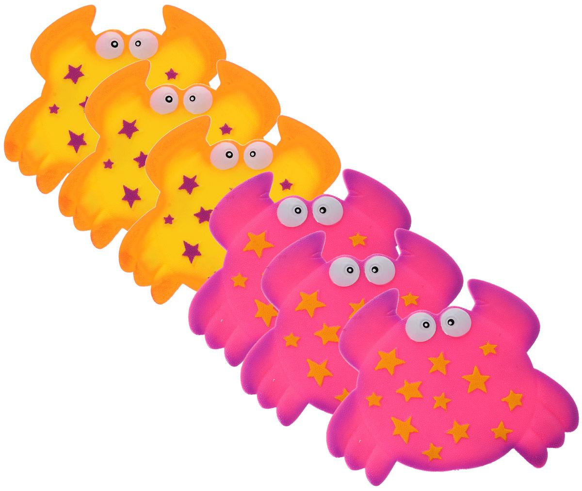Valiant Мини-коврик для ванной комнаты Крабик на присосках цвет желтый розовый 6 штK6-9928Мини-коврик для ванной комнаты Valiant Крабик - это модный и экономичный способ сделать вашу ванную комнату более уютной, красивой и безопасной. В наборе представлены 6 мини-ковриков в виде забавных крабиков. Коврики прочно крепятся на любую гладкую поверхность с помощью присосок. Расположите коврик там, где вам необходимо яркое цветовое пятно и надежная противоскользящая опора - на поверхности ванной, на кафельной стене или стенке душевой кабины, на полу - как дополнение вашего коврика стандартного размера. Мини-коврики Valiant незаменимы при купании маленького ребенка: он не поскользнется и не упадет, держась за мягкую и приятную на ощупь рифленую поверхность коврика. Рекомендации по уходу: после использования тщательно смойте остатки мыла или других косметических средств с коврика.