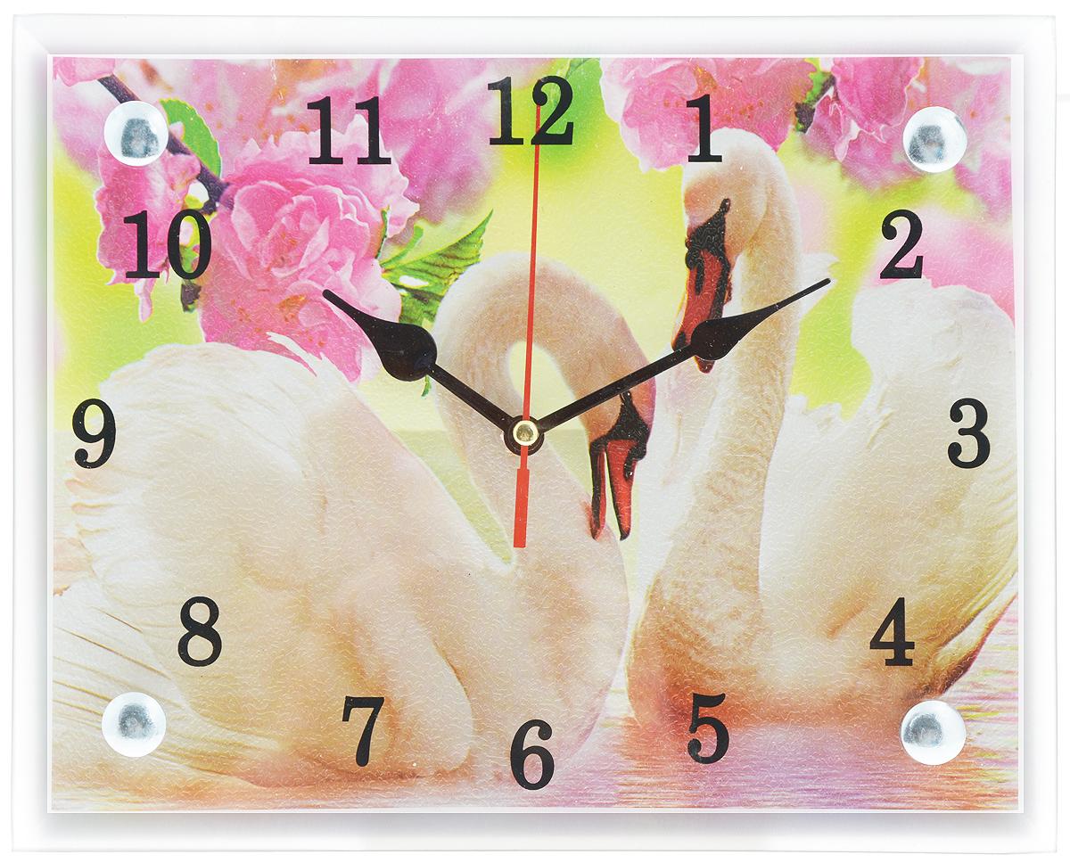 Часы настенные Proffi Home Лебеди, 20 х 25 смВ994Настенные кварцевые часы Proffi Home Лебеди, изготовленные из ДВП и стекла, прекрасно подойдут под интерьер вашего дома. Прямоугольные часы имеют три стрелки: часовую, минутную и секундную. Часы оснащены металлической петелькой для подвешивания. Часы работают от 1 батарейки типа АА напряжением 1,5 В (не входит в комплект). Размер часов: 20 х 25 х 3,5 см.