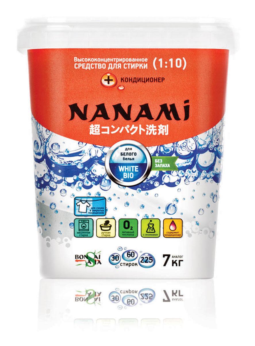 Средство для стирки Nanami White Bio, с кондиционером для белого белья420068ЭКСТРА СУПЕР концентрированное средство для стирки белья NANAMI WHITE BIO. Новейшие японские ферменты и полезные добавки позволяют осуществить от 25 до 50 автоматических стирок и более 170 ручных стирок, используя одну упаковку этого высоконцентрированного средства. Теперь не нужно носить тяжести, ведь одна пачка ЭКСТРА СУПЕР концентрированного средства для стирки белья NANAMI заменяет 10 кг обычного порошка!