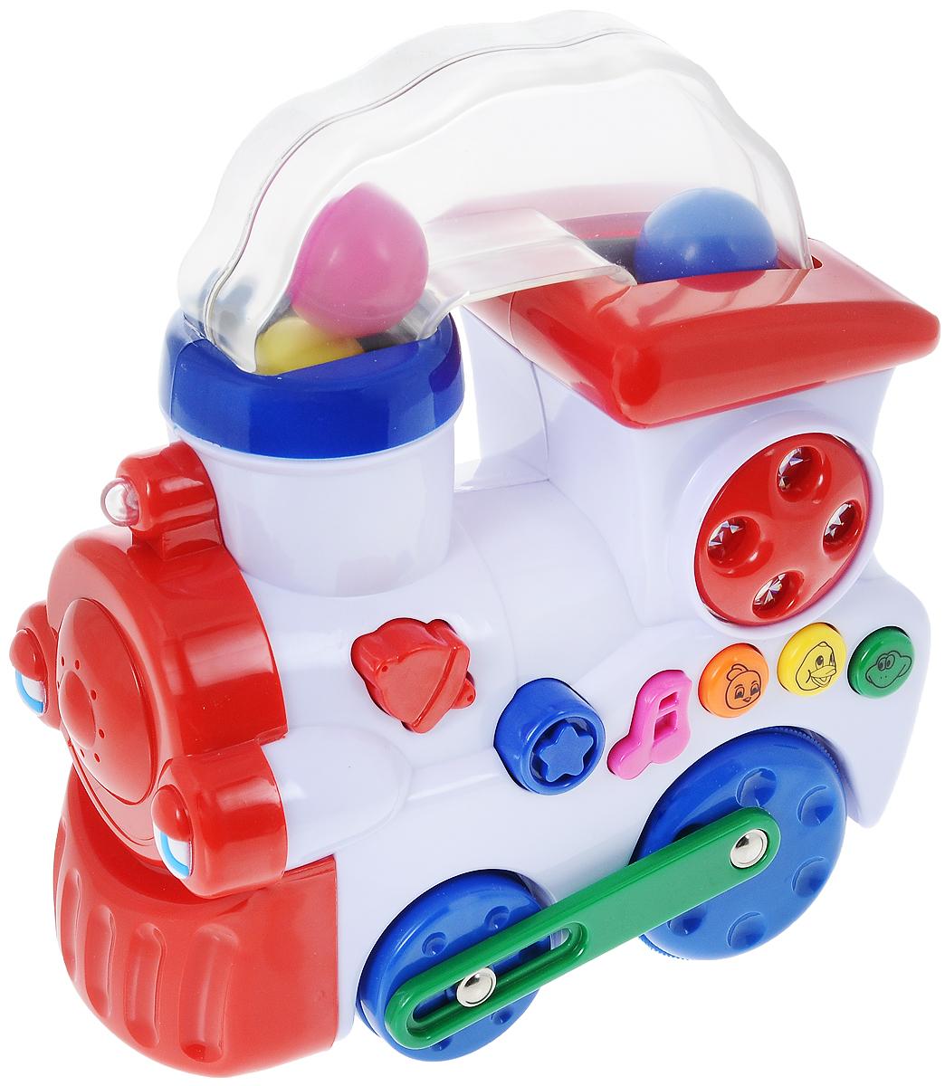 Navystar Развивающая игрушка Музыкальный паровозик65077-TЯркая развивающая игрушка Navystar Музыкальный паровозик - хороший выбор для малышей, ведь игры с ним забавны и познавательны. Паровозик может самостоятельно ездить, для этого ребенку необходимо всего лишь нажать на кнопочку, при этом разноцветные шарики, находящиеся в прозрачной трубе, начинают забавно танцевать. Имеется несколько звуковых и световых эффектов: 3 кнопки с изображением животных (утенок, цыпленок, жаба) - 3 реалистичных животных звука, музыкальная кнопка - 8 небольших мелодий. При движении паровозика светятся и мигают фары. Такие яркие музыкальные игрушки положительно влияют на развитие у ребенка слухового и цветового восприятия окружающего мира. Рекомендуется докупить 3 батарейки напряжением 1,5V типа АА (товар комплектуется демонстрационными).