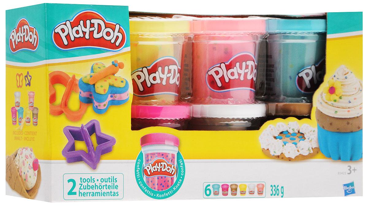 Play-Doh Набор пластилина Блестящая коллекция 6 цветовB3423EU4Play-Doh Набор пластилина Блестящая коллекция поможет вашей девочке реализовать свои творческие фантазии и создать свой собственный сказочный мир. В наборе шесть баночек разноцветного сверкающего пластилина розового, фиолетового, желтого, синего, красного и зеленого цветов и две формочки в виде бабочки и сердечка. Пластилин каждого цвета хранится в отдельной пластиковой баночке. Он полностью безопасен для детей, не липнет к рукам, не пачкает одежду и имеет приятный запах. Занятия лепкой развивают у ребенка фантазию, творческие способности и объемное воображение, тренируют координацию движений и мелкую моторику. Общая масса пластилина 336г.