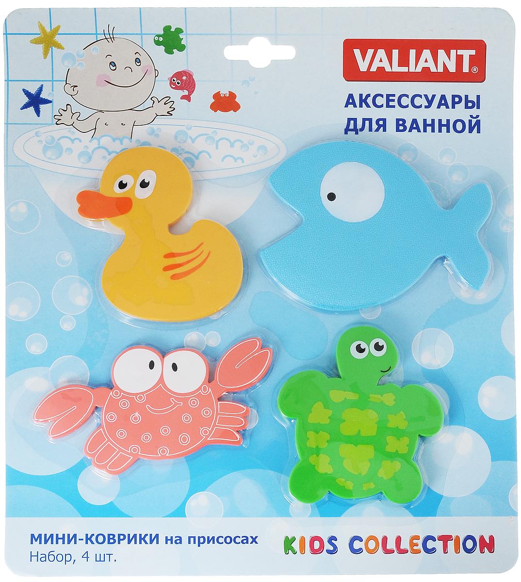 Valiant Мини-коврик для ванной комнаты Глазастики на присосках 4 штMIX4S6Мини-коврик для ванной комнаты Valiant Глазастики - это модный и экономичный способ сделать вашу ванную комнату более уютной, красивой и безопасной. В наборе представлены 4 мини-коврика в виде различных морских животных. Коврики прочно крепятся на любую гладкую поверхность с помощью присосок. Расположите коврик там, где вам необходимо яркое цветовое пятно и надежная противоскользящая опора - на поверхности ванной, на кафельной стене или стенке душевой кабины, на полу - как дополнение вашего коврика стандартного размера. Мини-коврики Valiant незаменимы при купании маленького ребенка: он не поскользнется и не упадет, держась за мягкую и приятную на ощупь рифленую поверхность коврика. Рекомендации по уходу: после использования тщательно смойте остатки мыла или других косметических средств с коврика.