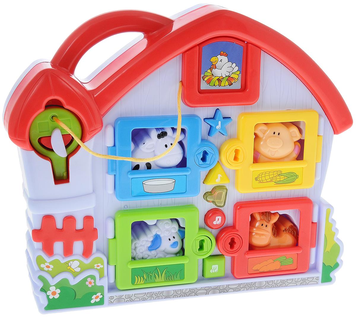 Navystar Музыкальный сортер Ферма68009-SМузыкальный сортер Navystar Ферма станет прекрасным подарком для вашего ребенка. Эта развивающая игрушка предлагает ребенку найти домик для поросенка, овечки, коровки и лошадки в зависимости от их формы. Чтобы открыть домик для животного, нужно воспользоваться ключом, цвет которого соответствует оттенку домика. А если обитатели музыкальной фермы проголодаются, их можно покормить, перевернув игрушку обратной стороной и разместив животных в соответствующих отверстиях. Игра сопровождается 15 мелодиями со световыми эффектами и реалистичными звуками. Музыкальная игрушка предназначена для детей от 1 года. Рекомендуется докупить 2 батарейки типа АА (товар комплектуется демонстрационными).