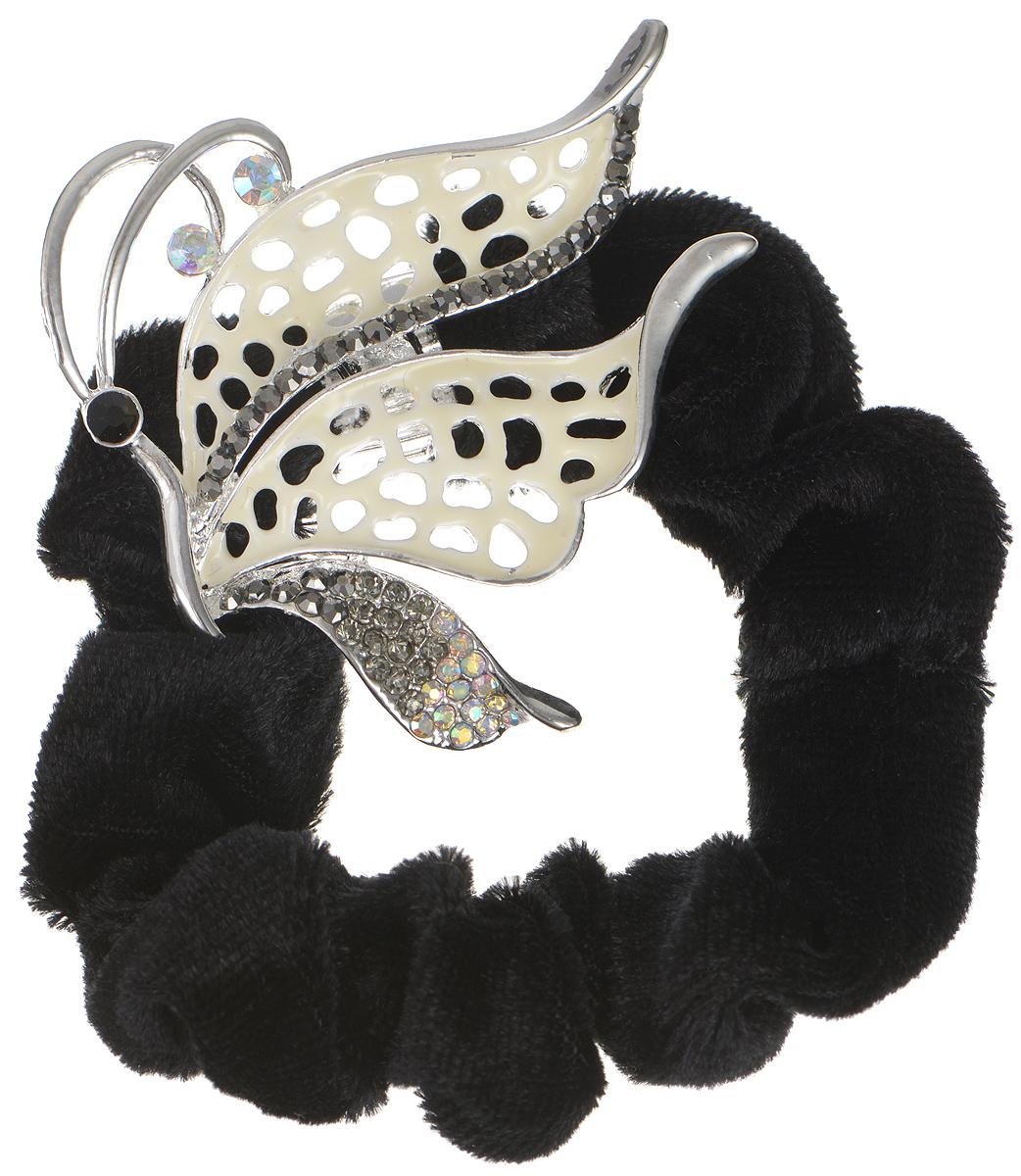 Резинка для волос Fashion House, цвет: серебро, черный. FH32388
