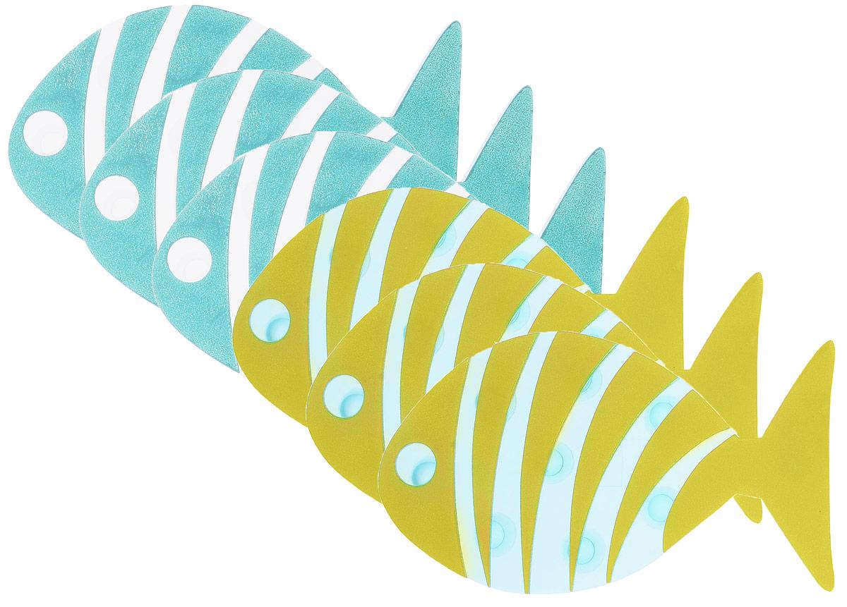 Valiant Мини-коврик для ванной комнаты Рыба полосатая на присосках 6 шт