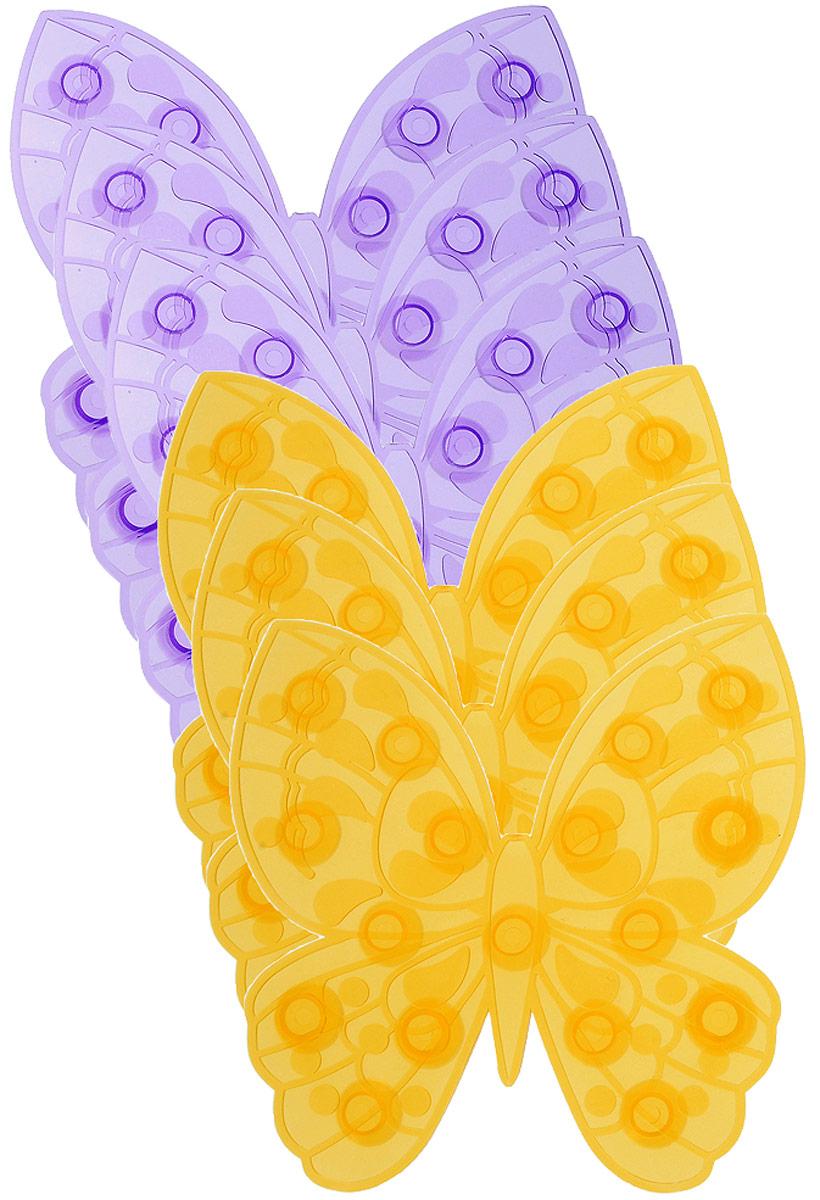 Valiant Мини-коврик для ванной комнаты Мотылек на присосках 6 штK6-07AМини-коврик для ванной комнаты Valiant Мотылек - это модный и экономичный способ сделать вашу ванную комнату более уютной, красивой и безопасной. В наборе представлены 6 мини-ковриков в виде фиолетовых и желтых мотыльков. Коврики прочно крепятся на любую гладкую поверхность с помощью присосок. Расположите коврик там, где вам необходимо яркое цветовое пятно и надежная противоскользящая опора - на поверхности ванной, на кафельной стене или стенке душевой кабины, на полу - как дополнение вашего коврика стандартного размера. Мини-коврики Valiant незаменимы при купании маленького ребенка: он не поскользнется и не упадет, держась за мягкую и приятную на ощупь рифленую поверхность коврика. Рекомендации по уходу: после использования тщательно смойте остатки мыла или других косметических средств с коврика.