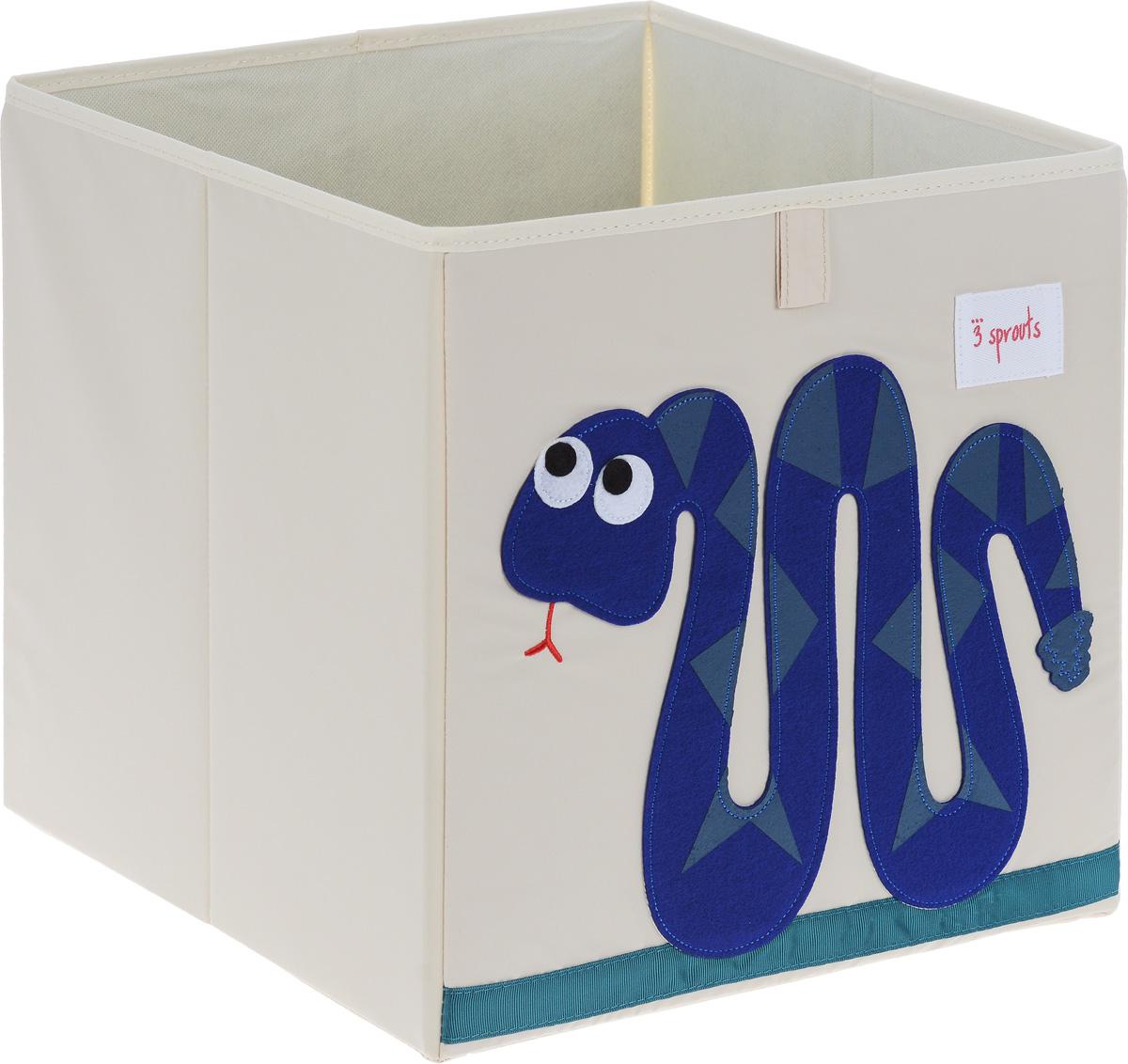 3 Sprouts Коробка для хранения Змейка00008Коробка для хранения 3 Sprouts Змейка - это отличный вариант организации пространства любой комнаты. Стороны коробки усилены с помощью картона, поэтому она всегда стоит ровно. Помещается практически во все стеллажи с квадратными отсеками и добавляет озорства любой комнате. Стоит ли коробка отдельно или на полке стеллажа, она обеспечит прекрасную организацию в вашем доме. Уход: снаружи - только выведение пятен.