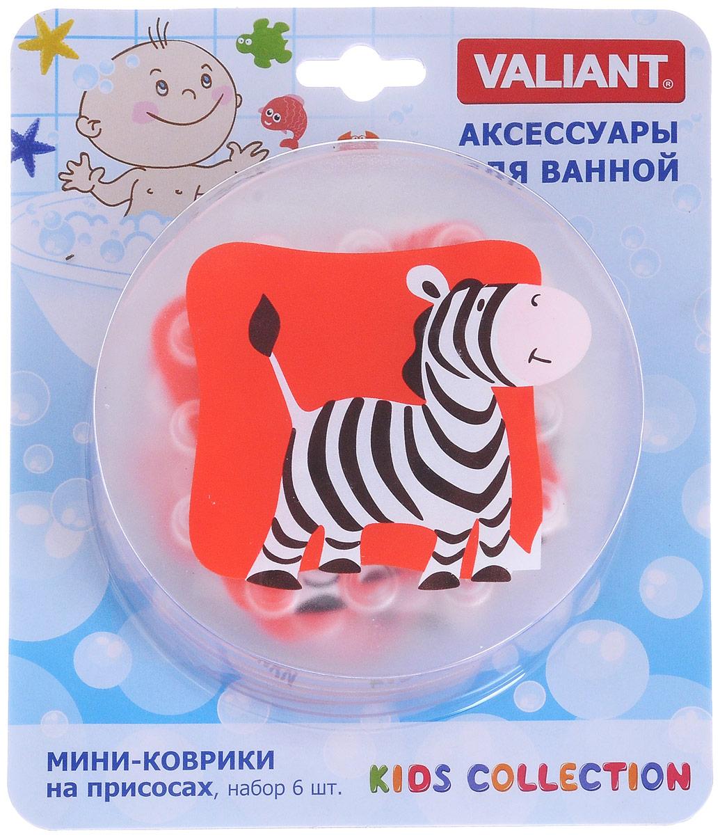 Valiant Мини-коврик для ванной комнаты Зебра на присосках 6 шт