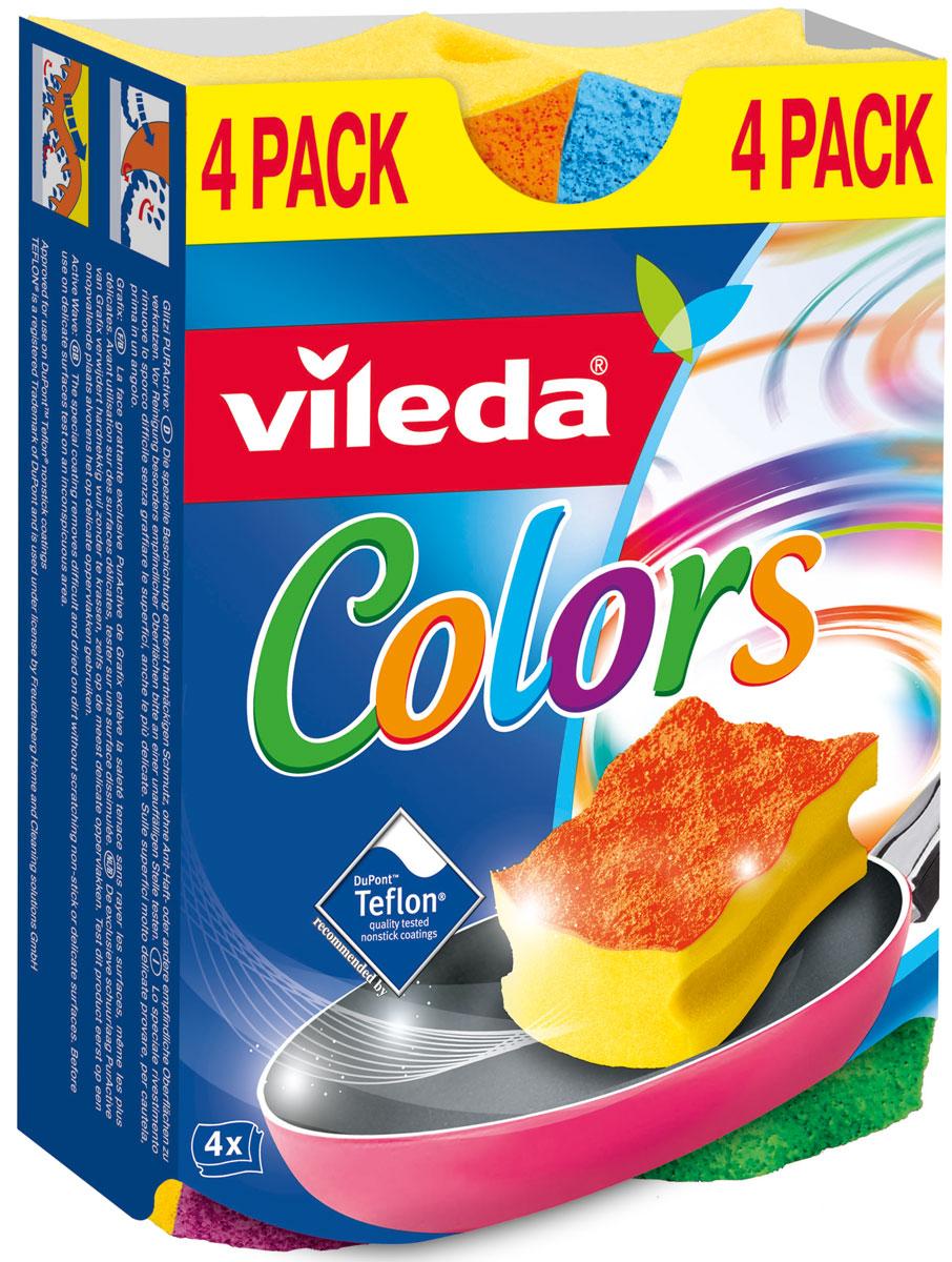Губка Vileda Pure Colors (высокий поролон)32110055Упаковка: 4 шт. Толстый поролон Удобна в использовании за счет специальных пазов для пальцев.