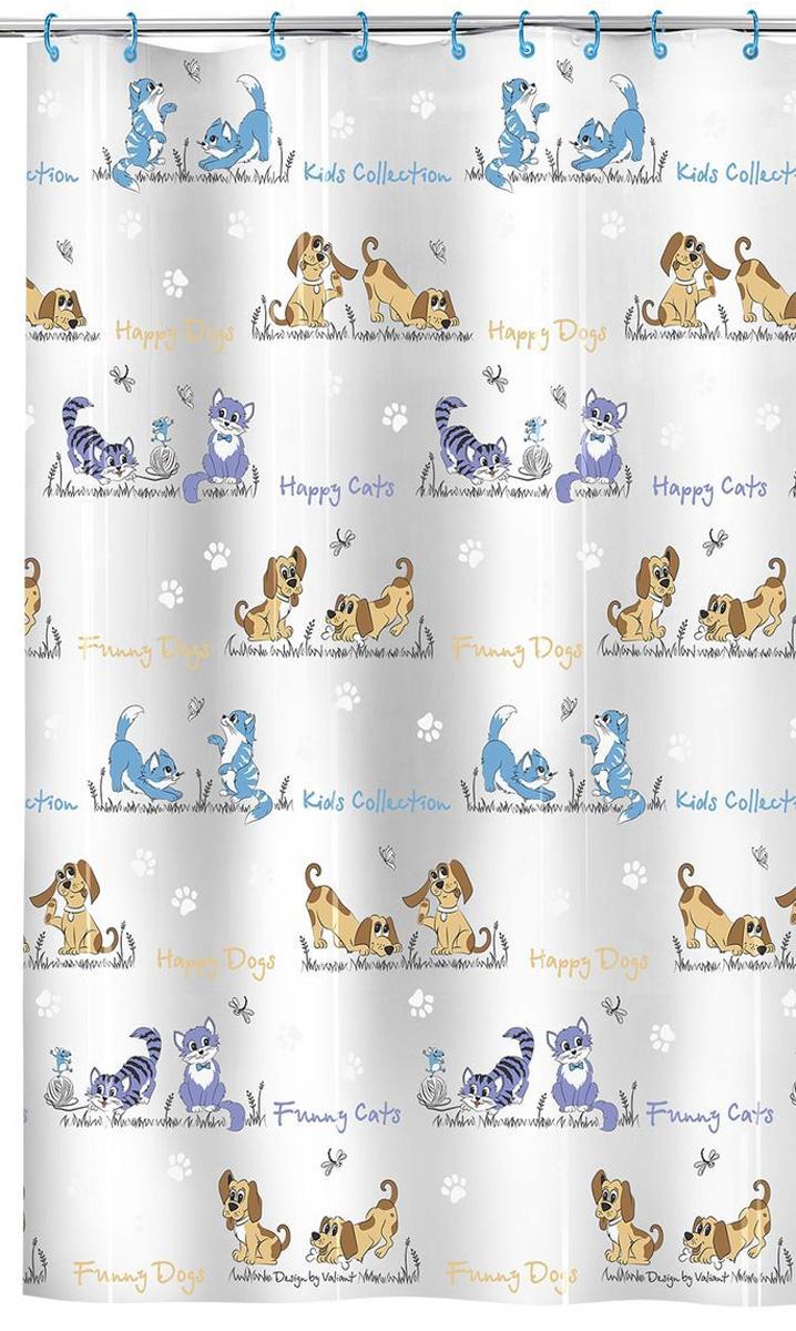 Valiant Штора для ванной Киски и собачки