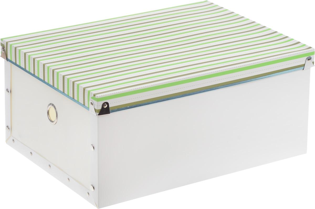 Короб для xранения Miolla, 30 x 40 x 18 смSBС-04_белый, зеленыйКороб для xранения Miolla, изготовленный из прочного полипропилена, предназначен для хранения различных мелочей в доме, офисе или на даче. Короб оформлен оригинальным принтом в полоску, что придает ему стильный внешний вид. Он легко собирается и скрепляется при помощи кнопок. Вместительный короб для хранения создан, чтобы навести порядок в вашем доме. Он бережно сохранит важные документы или просто дорогие сердцу мелочи. Оригинальный дизайн с полосатым орнаментом прекрасно подойдет для любого интерьера.