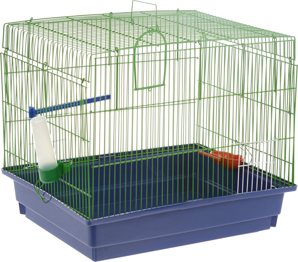 Клетка для птиц ЗооМарк, цвет: синий поддон, зеленая решетка, 50 х 31 х 41 см470_синий, зеленыйКлетка ЗооМарк, выполненная из полипропилена и металла с эмалированным покрытием, предназначена для птиц. Изделие состоит из большого поддона и решетки. Клетка снабжена металлической дверцей. Она удобна в использовании и легко чистится. Клетка оснащена подвижной ручкой для удобной переноски. Комплектация: - клетка с поддоном, - поилка, - кормушка, - кольцо.