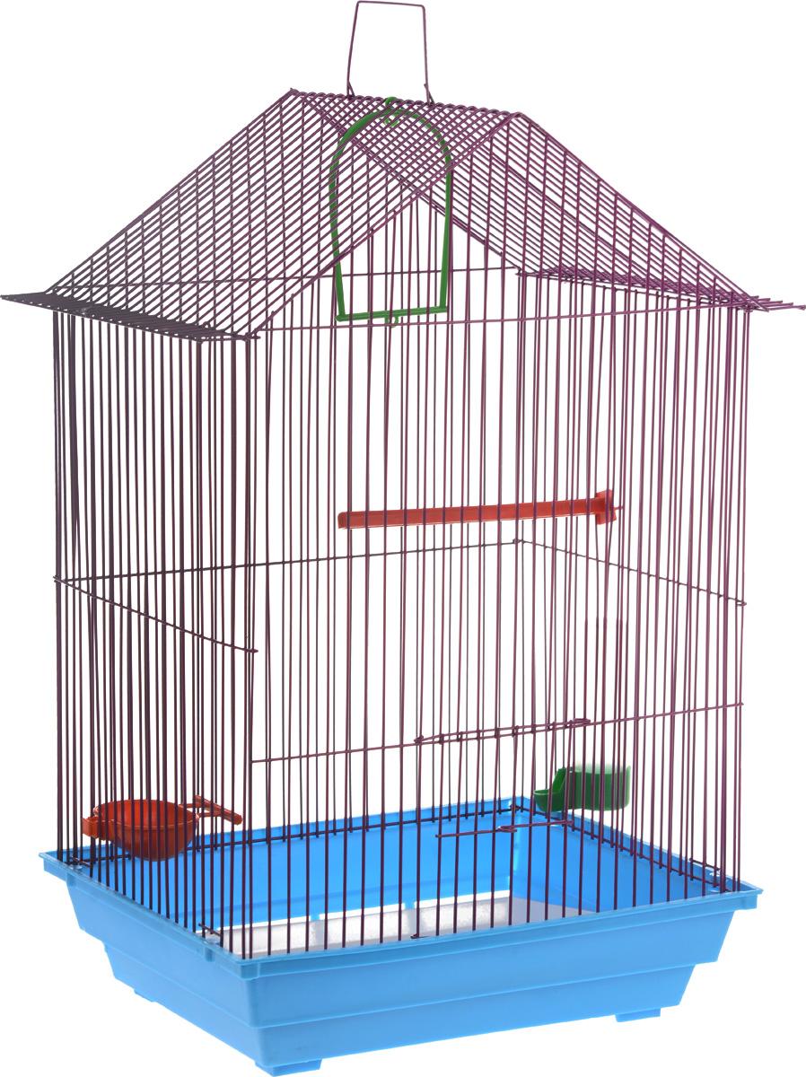 Клетка для птиц ЗооМарк, цвет: голубой поддон, сиреневая решетка, 34 x 28 х 54 см430_голубой, сиреневыйКлетка ЗооМарк, выполненная из полипропилена и металла с эмалированным покрытием, предназначена для мелких птиц. Изделие состоит из большого поддона и решетки. Клетка снабжена металлической дверцей. Клетка удобна в использовании и легко чистится. Она оснащена кольцом для птицы, поилкой, кормушкой и подвижной ручкой для удобной переноски. Комплектация: - клетка с поддоном; - малый поддон; - поилка; - кормушка; - кольцо.