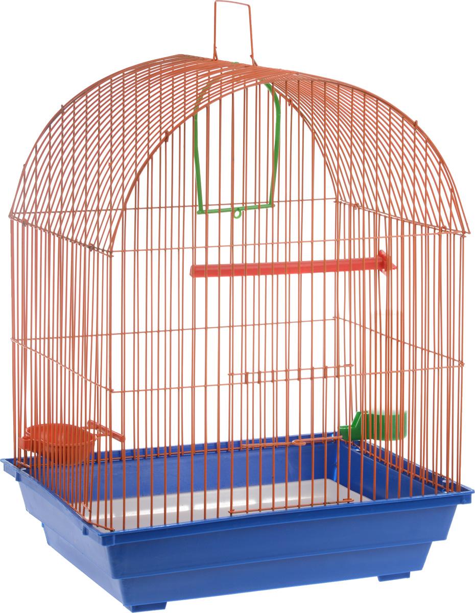 Клетка для птиц ЗооМарк, цвет: синий поддон, оранжевая решетка, 35 х 28 х 52 см440_синий, оранжевыйКлетка ЗооМарк, выполненная из полипропилена и металла, предназначена для мелких птиц. Вы можете поселить в нее одну или две птицы. Изделие состоит из большого поддона и решетки. Клетка снабжена металлической дверцей, которая открывается и закрывается движением вверх- вниз. В основании клетки находится малый поддон. Клетка удобна в использовании и легко чистится. Она оснащена жердочкой, кольцом для птицы, кормушкой, поилкой и подвижной ручкой для удобной переноски. Комплектация: - клетка с поддоном, - малый поддон; - кормушка; - поилка; - кольцо.