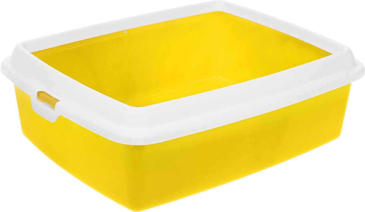 "Туалет для кошек MPS ""Hydra Maxi"", с рамкой, цвет: желтый, 50 х 40 х 16,5 см"