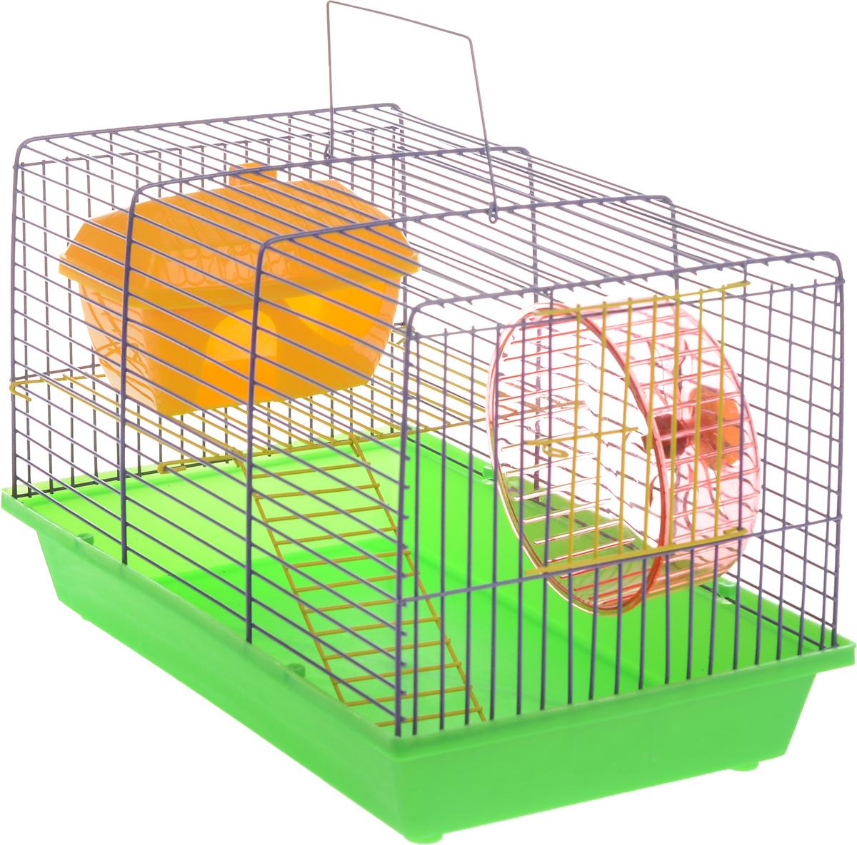 Клетка для грызунов ЗооМарк, 2-этажная, цвет: зеленый поддон, сиреневая решетка, 36 х 22 х 24 см. 125ж125ж_зеленый, сиреневыйКлетка ЗооМарк, выполненная из полипропилена и металла, подходит для мелких грызунов. Изделие двухэтажное, оборудовано колесом для подвижных игр и пластиковым домиком. Клетка имеет яркий поддон, удобна в использовании и легко чистится. Сверху имеется ручка для переноски. Такая клетка станет уединенным личным пространством и уютным домиком для маленького грызуна.