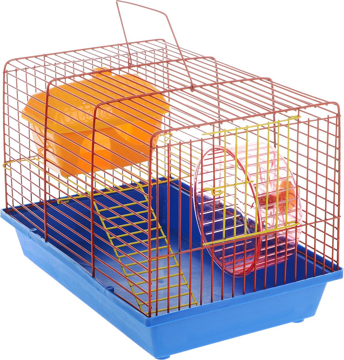 Клетка для грызунов ЗооМарк, 2-этажная, цвет: синий поддон, оранжевая решетка, 36 х 22 х 24 см. 125ж125ж_синий, оранжевыйКлетка ЗооМарк, выполненная из полипропилена и металла, подходит для мелких грызунов. Изделие двухэтажное, оборудовано колесом для подвижных игр и пластиковым домиком. Клетка имеет яркий поддон, удобна в использовании и легко чистится. Сверху имеется ручка для переноски. Такая клетка станет уединенным личным пространством и уютным домиком для маленького грызуна.