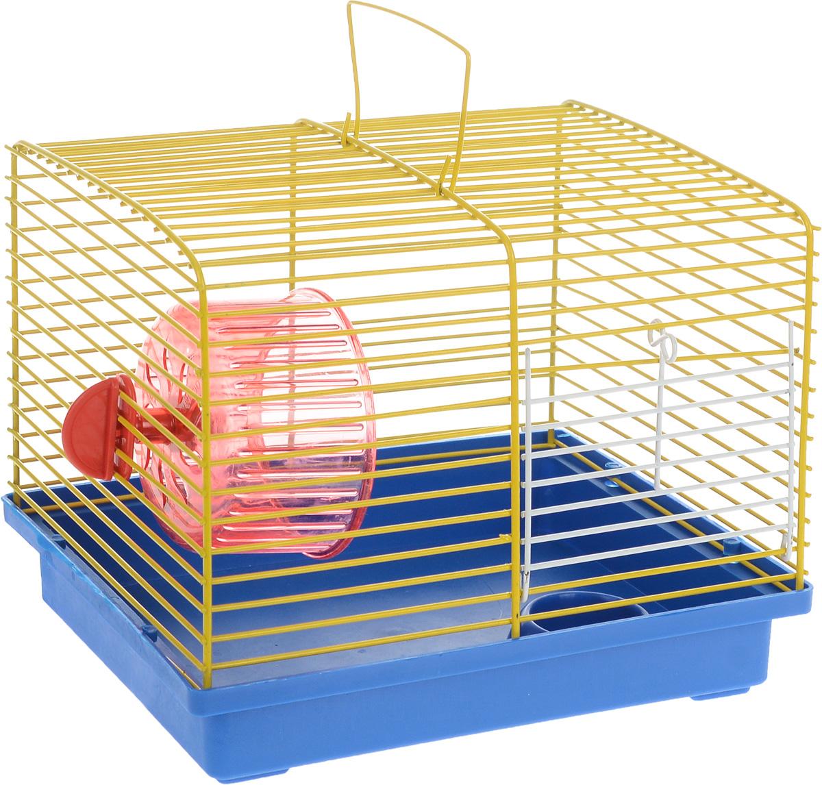 Клетка для хомяка ЗооМарк, с колесом и миской, цвет: синий поддон, желтая решетка, 23 х 18 х 18,5 см511_синий, желтыйКлетка ЗооМарк, выполненная из пластика и металла, подходит для джунгарского хомячка или других небольших грызунов. Она оборудована колесом для подвижных игр и миской. Клетка имеет яркий поддон, удобна в использовании и легко чистится. Такая клетка станет личным пространством и уютным домиком для маленького грызуна. Комплектация: - клетка с поддоном; - колесо; - миска.