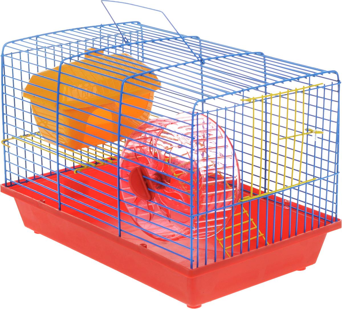 Клетка для грызунов ЗооМарк, 2-этажная, цвет: красный поддон, синяя решетка, желтый этаж, 36 х 22 х 24 см. 125ж125ж_красный, синий, желтыйКлетка ЗооМарк, выполненная из полипропилена и металла, подходит для мелких грызунов. Изделие двухэтажное, оборудовано колесом для подвижных игр и пластиковым домиком. Клетка имеет яркий поддон, удобна в использовании и легко чистится. Сверху имеется ручка для переноски. Такая клетка станет уединенным личным пространством и уютным домиком для маленького грызуна.