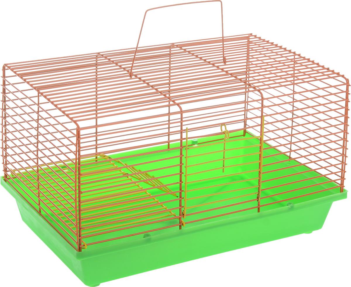 Клетка для хомяка ЗооМарк, 2-этажная, цвет: зеленый поддон, оранжевая решетка, 36 х 23 х 20 см111_зеленый, оранжевыйДвухэтажная клетка Зоомарк, выполненная из полипропилена и металла, подходит для хомяков или других небольших грызунов. Она имеет яркий поддон, удобна в использовании и легко чистится. Сверху имеется ручка для переноски. Такая клетка станет уединенным личным пространством и уютным домиком для маленького грызуна.