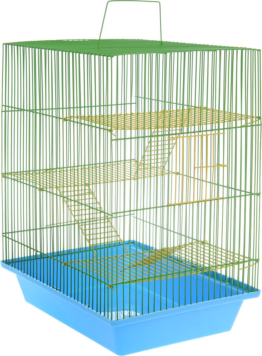 Клетка для грызунов ЗооМарк Гризли, 4-этажная, цвет: голубой поддон, зеленая решетка, желтые этажи, 41 х 30 х 50 см. 240ж240ж_голубой, зеленыйКлетка ЗооМарк Гризли, выполненная из полипропилена и металла, подходит для мелких грызунов. Изделие четырехэтажное. Клетка имеет яркий поддон, удобна в использовании и легко чистится. Сверху имеется ручка для переноски. Такая клетка станет уединенным личным пространством и уютным домиком для маленького грызуна.