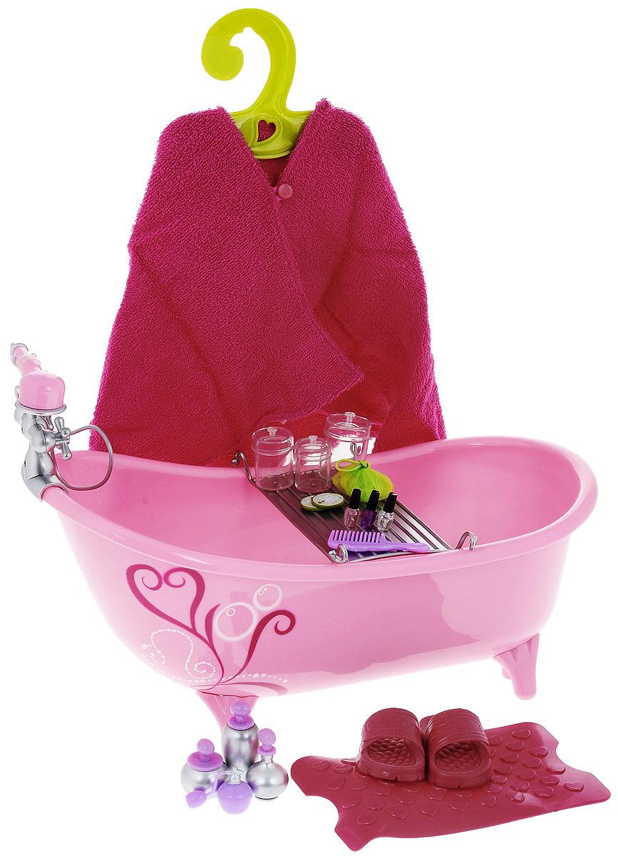 Our Generation Игровой набор Ванная комната11582Ванна с аксессуарами для куклы Our Generation надолго займет внимание вашей малышки и не позволит ей скучать. Ванна выполнена из безопасного пластика розового цвета, оснащена смесителем с душем и удобной подставкой для банных принадлежностей. Ванна располагается на четырех ножках. Комплект включает в себя множество аксессуаров, коврик для ванны, шлепанцы и полотенце-накидку. Набор подходит для любых кукол высотой 46 см. С игрушечной ванной Our Generation ваша малышка сможет купать свою любимую куколку или другие игрушки, стирать их вещи и многое другое. Порадуйте ее таким замечательным подарком!