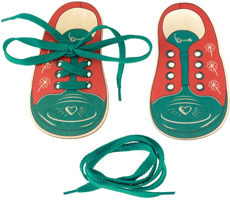 Развивающие деревянные игрушки Шнуровка Ботинки Сердечко и ключикД425аШнуровка - незаменимая игрушка для развития мелкой моторики. А шнуровка в виде веселой игры станет для ребенка самым любимым развлечением. Данная шнуровка выполнена в форме детских ботиночек. Играя с данной шнуровкой ребенок не только сможет развить мелкую моторику, но и научится шнуровать свою обувь и завязывать шнурочки на бантик, а также узнает о том, что ботиночек бывает левым и правым, как и ножки ребенка.