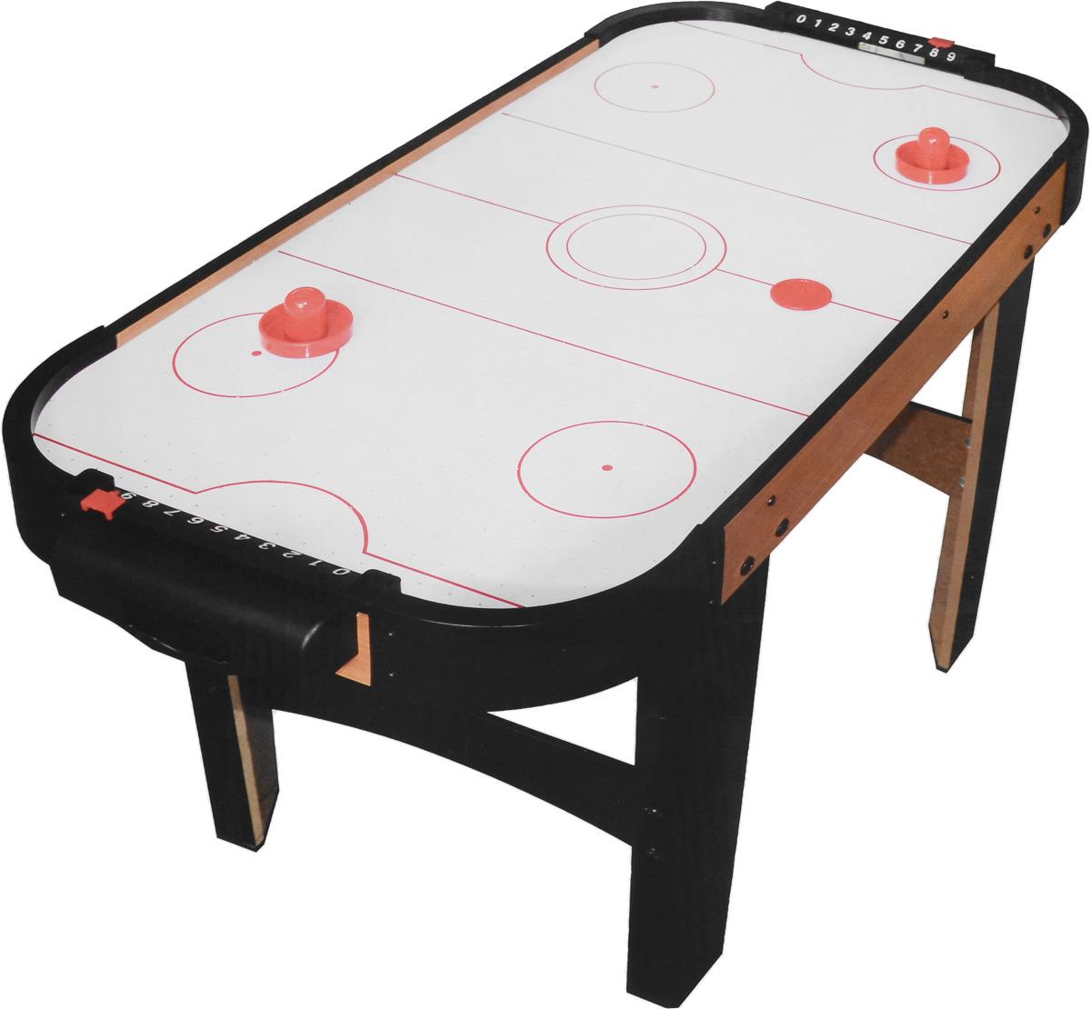 Huang Guan Аэрохоккей 20158H20158HНастольная игра Huang Guan Аэрохоккей состоит из игрового поля, двух ворот со счетчиками очков, двух шайб и двух бит. Аэрохоккей - увлекательная и активная игра. Участие в этой игре принимают два игрока. Цель игры - забить шайбу в ворота противника. Игровое поле представляет собой гладкую игровую поверхность, окруженную невысоким бортиком, предотвращающим падение шайбы и бит. Через небольшие дырочки на игровой поверхности создается циркуляция воздуха от работающего вентилятора, уменьшая трение и увеличивая тем самым скорость движения шайбы. Такой игровой набор станет прекрасным подарком и позволит приятно провести время в хорошей компании. Игрушка работает от домашней электросети через сетевой адаптер (в комплекте).
