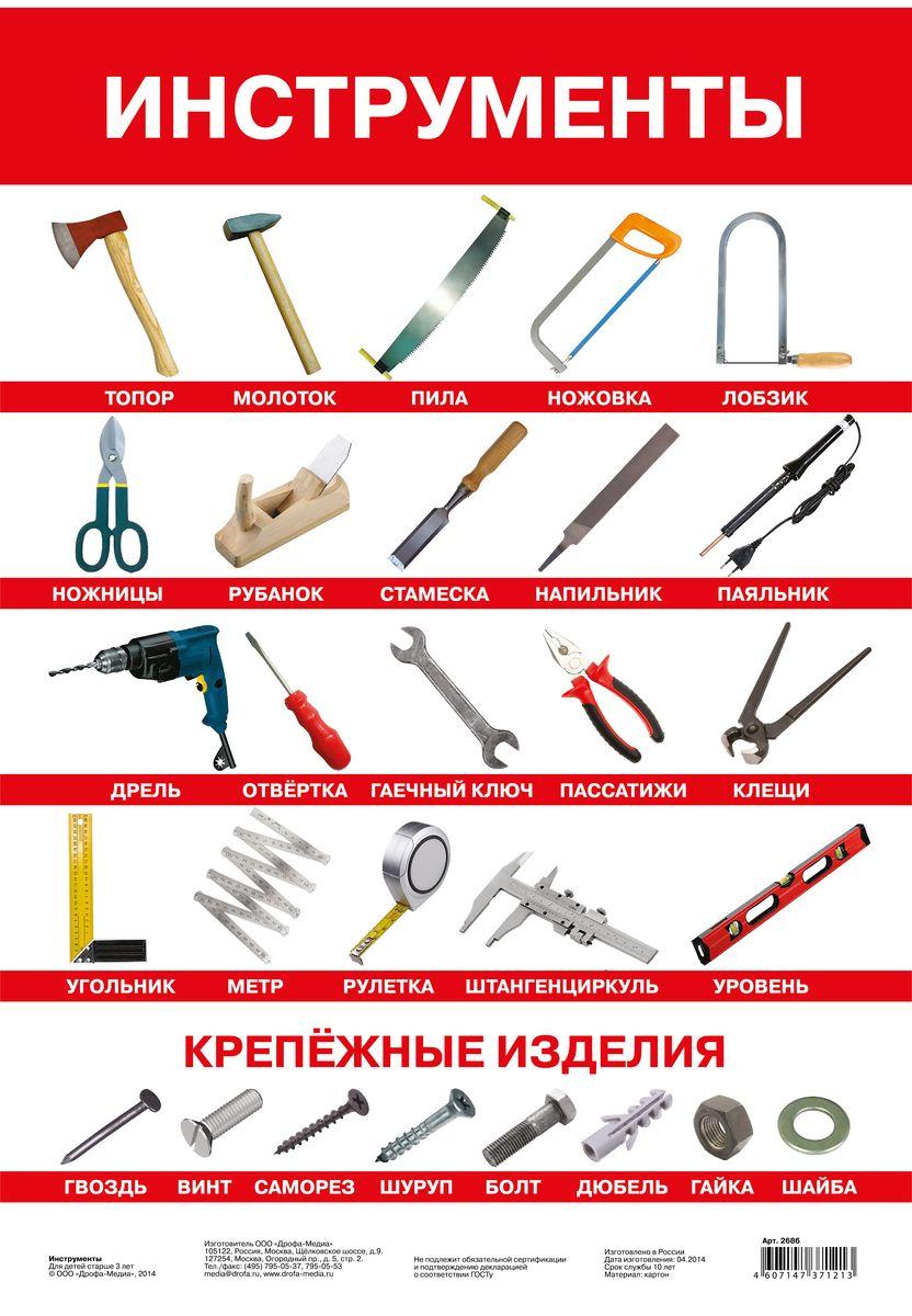 Дрофа-Медиа Обучающий плакат Инструменты2686Плакат Дрофа-Медиа познакомит с наиболее популярными инструментами, которые используются в повседневной жизни. Дети узнают, как они называются. Все инструменты подписаны печатными буквами. Плакат будет особенно интересен мальчикам.