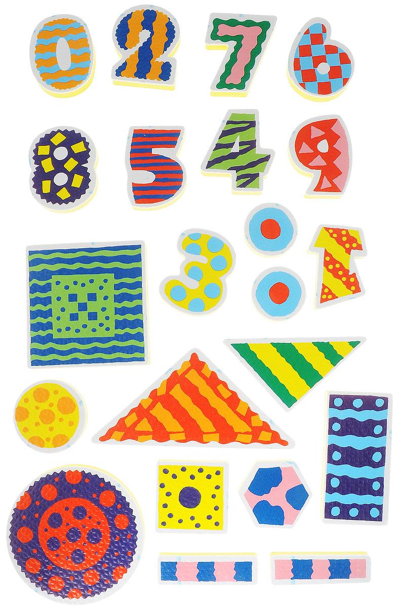 Alex Toys Набор игрушек для ванной Цифры 22 шт632WНабор фигурок-стикеров для ванной Цифры включает в себя красочные фигурки в виде цифр от 0 до 9 и основные геометрические фигуры. Фигурки сделаны из легкого и экологичного материала - вспененного пластика, который крепится к влажной стенке ванны и кафелю. Фигурки упакованы в сумку-сетку на присосках.