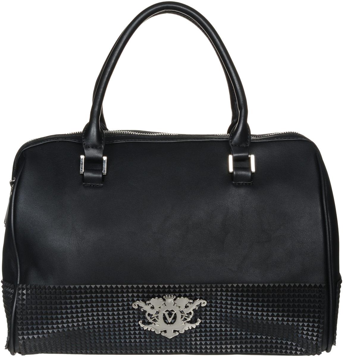Сумка женская Vitacci, цвет: черный. V1156V1156Изысканная женская сумка Vitacci идеально дополнит ваш образ. Она изготовлена из качественной искусственной кожи и оформлена фактурными резиновыми нашивками. Лицевая часть оформлена металлической пластинкой с логотипом бренда. На тыльной стороне расположен вшитый карман на молнии. Сумка оснащена удобными ручками и закрывается на удобную молнию. Внутри расположено главное отделение, которое разделяет карман-средник на молнии. Также внутри находятся два открытых накладных кармана для телефона и мелочей и один вшитый карман на молнии. Изделие оснащено съемным регулируемым плечевым ремнем, который фиксируется с помощью замков-карабинов. Также сумка дополнена металлическими ножками, которые предотвратят повреждение дна сумки. Роскошная и модная сумка внесет элегантные нотки в ваш образ и подчеркнет ваш неповторимый стиль.