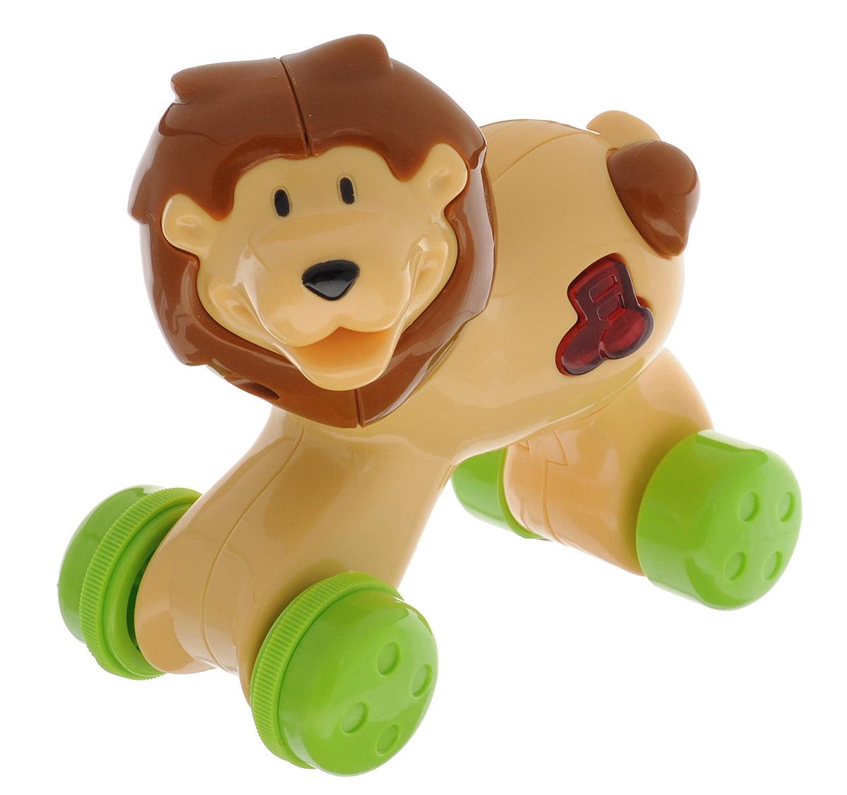 Navystar Музыкальная игрушка-каталка Лев68081-T-LМузыкальная игрушка-каталка Navystar Лев привлечет внимание вашего малыша и не оставит его равнодушным. Игрушка выполнена из прочного пластика в виде симпатичного льва. На теле игрушки имеется кнопочка в виде ноты, при нажатии на которую воспроизводятся разные мелодии, и мигает огонек в кнопочке. Музыкальная игрушка-каталка воспроизводит 40 различных мелодий. Игрушка оснащена инерционным механизмом. Если нажать на игрушку, а затем отпустить, она быстро поедет вперед. Музыкальная игрушка-каталка Navystar Лев поможет малышу развить цветовое и звуковое восприятие, координацию движений и мышление. Для работы игрушки необходимы 3 батарейки типа AG13 (LR44) напряжением 1,5V (товар комплектуется демонстрационными).