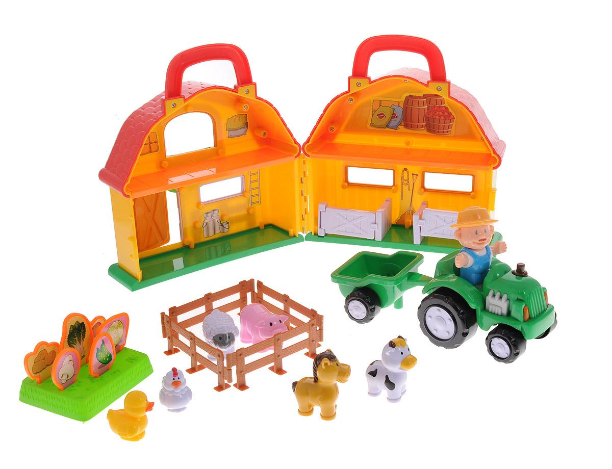 Navystar Игровой набор Ферма1198Игровой набор Navystar Ферма позволит вашему малышу обустроить небольшой фермерский домик и приусадебное хозяйство. В набор входят шесть фигурок домашних животных, фигурка фермера-тракториста, складной домик с ручкой, трактор с прицепом и различные аксессуары. Малышу понравится присматривать за животными, собирать щедрый урожай с фермерских грядок и транспортировать его при помощи трактора, узнавая много нового и интересного о жизни на ферме в процессе веселой игры. Все элементы набора выполнены из прочного безопасного пластика и имеют яркие цвета. Колеса трактора имеют свободный ход, прицеп можно отсоединять. Ваш малыш будет увлеченно играть с этим набором, фантазируя и придумывая различные истории. Набор предоставит ему широкий простор для фантазии и игр.