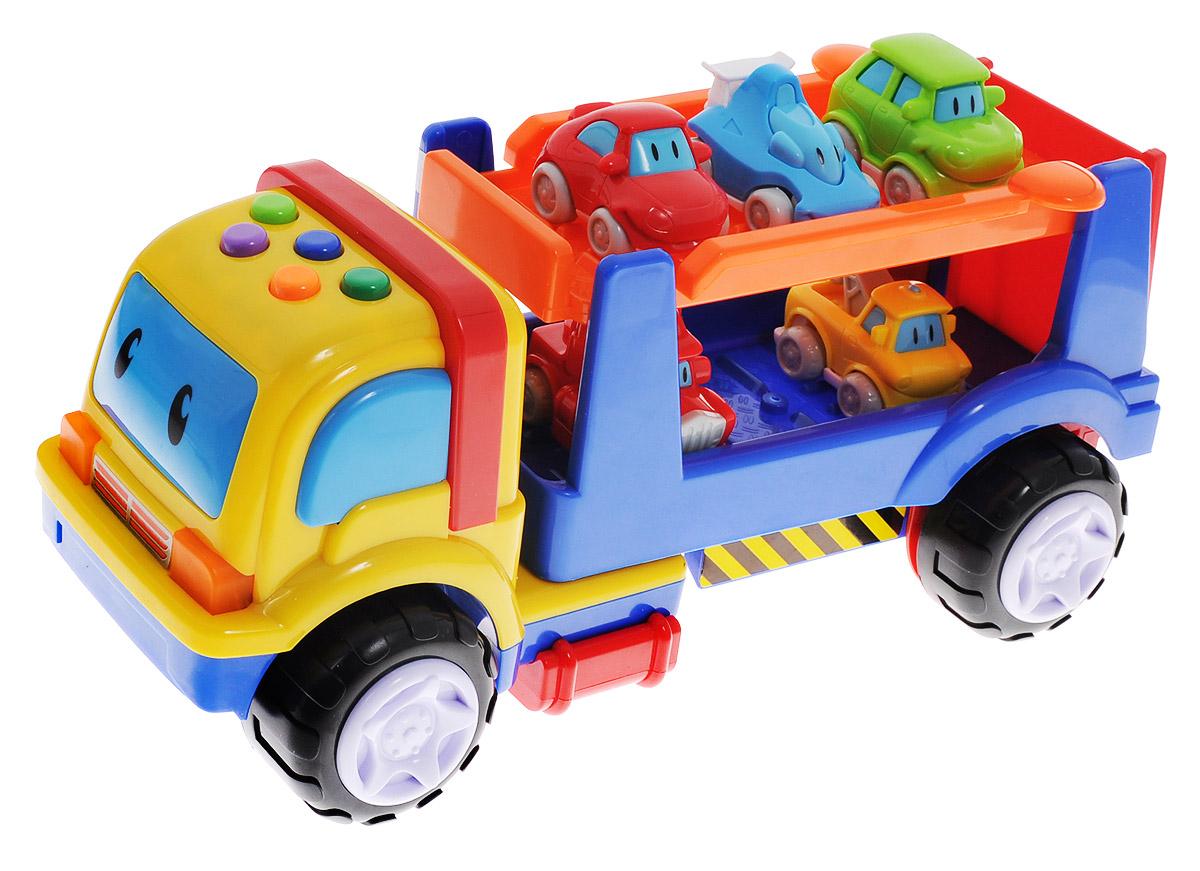 Navystar Игровой набор Автотранспортировщик1273-AИгровой набор Navystar Автотранспортировщик непременно понравится малышу и надолго займет его внимание. Набор включает в себя автовоз и 5 маленьких машинок. Автовоз оснащен световыми и звуковыми эффектами, которые включаются с помощью нескольких кнопок на крыше машины. Игрушка воспроизводит 16 различных мелодий, 5 различных автомобильных звуков. Фары машинки при этом мигают. Колеса автовоза свободно вращаются, пандус опускается, верхняя площадка кузова поднимается. Пять разноцветных маленьких машинок располагаются на двух уровнях кузова автовоза. Сделайте вашему ребенку такой замечательный подарок! Для работы игрушки необходимы 2 батарейки типа АА напряжением 1,5V (товар комплектуется демонстрационными).