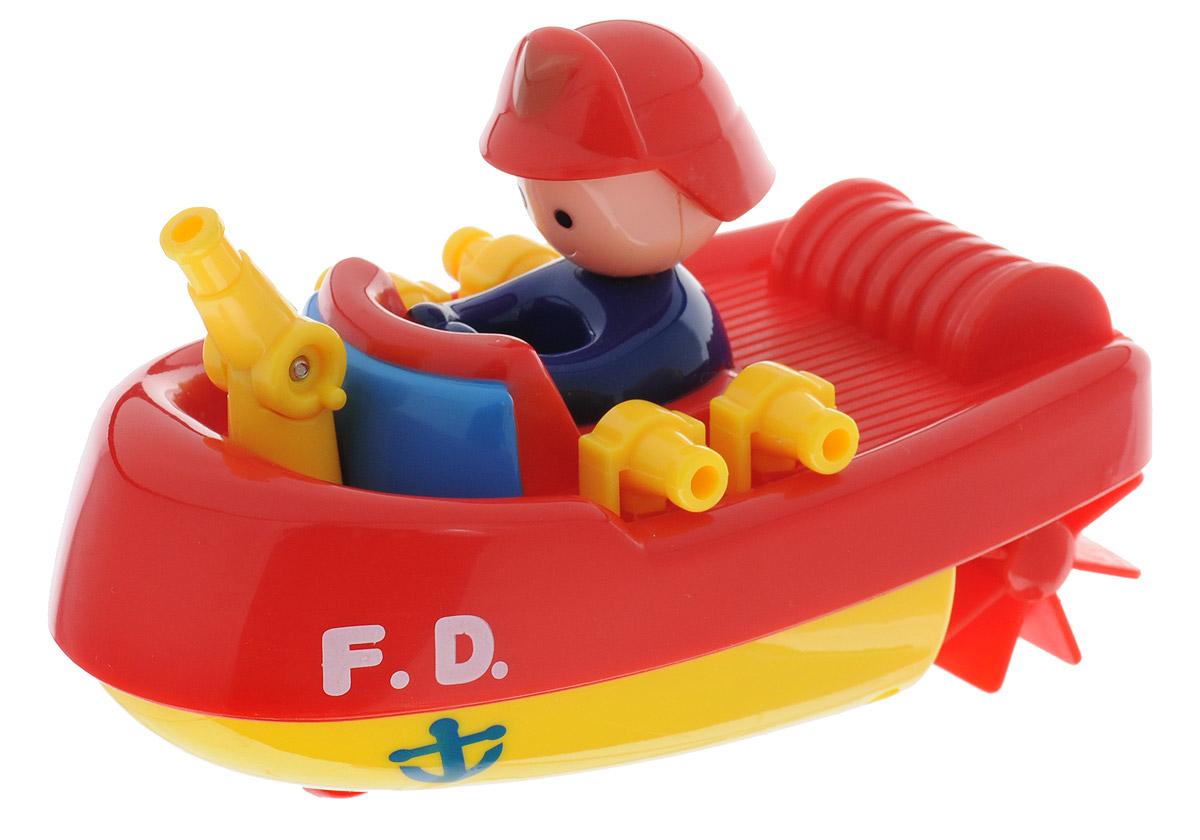 Navystar Игрушка для ванной Пожарный катер цвет красный желтый65019-1-YИгрушка для ванной Пожарный катер порадует вашего малыша во время купания и сделает этот порой нелегкий процесс приятным и веселым. Катер выполнен из яркого безопасного пластика. Если покрутить колесики, расположенные сзади, то катер быстро поплывет по поверхности воды. Данная игрушка не только развеселит вашего малыша, но и поможет развить мелкую моторику.