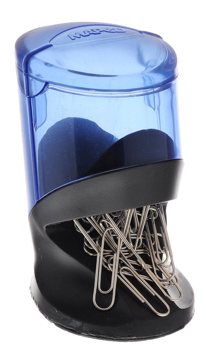 Maped Подставка для скрепок Evolys цвет синий537500_синийЭлегантная подставка для скрепок Maped Evolys, выполненная из пластика, позволяет удобно хранить скрепки и поддерживать аккуратный вид рабочего стола. Подставка в виде наклонного цилиндра имеет встроенный магнит. Верхняя часть подставки из полупрозрачного пластика позволяет контролировать количество оставшихся скрепок. В комплект с подставкой входит 100 металлических скрепок.