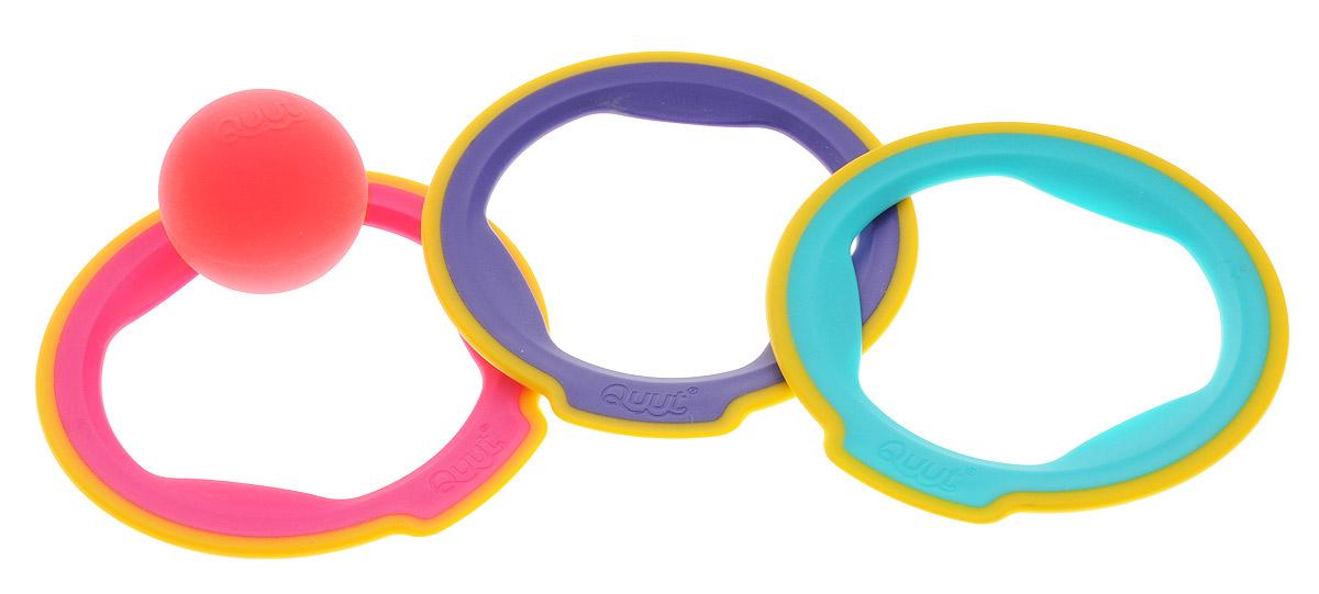Quut Игровой набор Ringo170419Петанк по-новому! Ringo состоит из 3 лёгких колец и 1 контрастного мячика и открывает петанк по-новому для детей любого возраста. Три кольца разных цветов обеспечивают максимальную видимость на любой поверхности, а мягкие края - безопасность для самых маленьких игроков. Ringo прекрасно сочетается с игрушками Triplet и Cuppi. Вы можете даже изобретать новые игры!