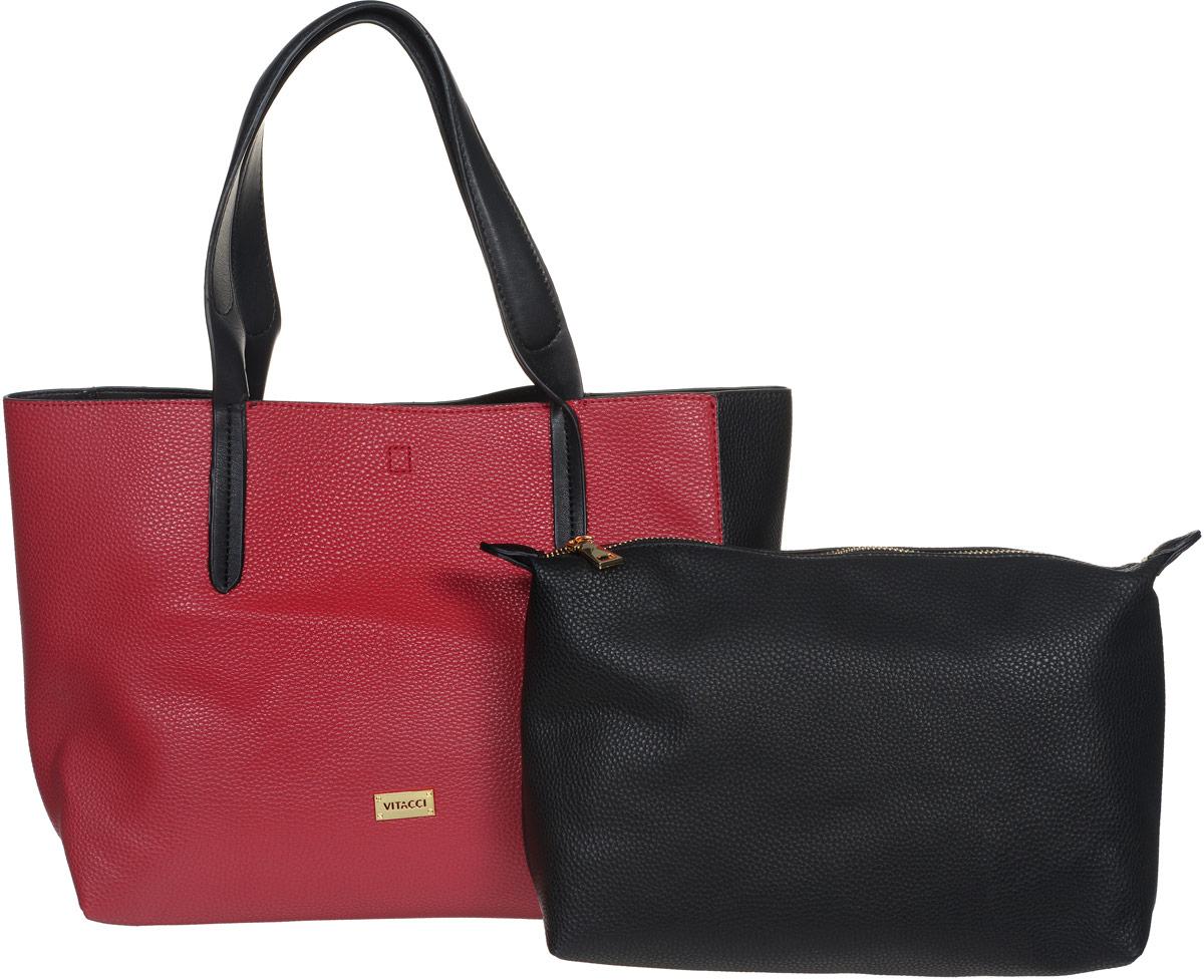 Сумка женская Vitacci, цвет: черный, красный. DN011DN011Стильная сумка Vitacci выполнена из искусственной кожи с зернистой фактурой и оснащена удобной ручкой для переноски. Длина ручки с одинаковым удобством позволяет носить изделие как на плече, так и на запястье. Сумка завязывается на шнурки, внутри имеет одно вместительное отделение и съемный вкладыш на застежке-молнии. Внутри съемного вкладыша имеется прорезной карман на молнии для телефона, документов и прочих мелочей. Изделие декорировано металлическим элементом с фирменной гравировкой. Сумка Vitacci - это выбор молодой, уверенной, стильной женщины, которая ценит качество и комфорт. Изделие станет изысканным дополнением к вашему образу.