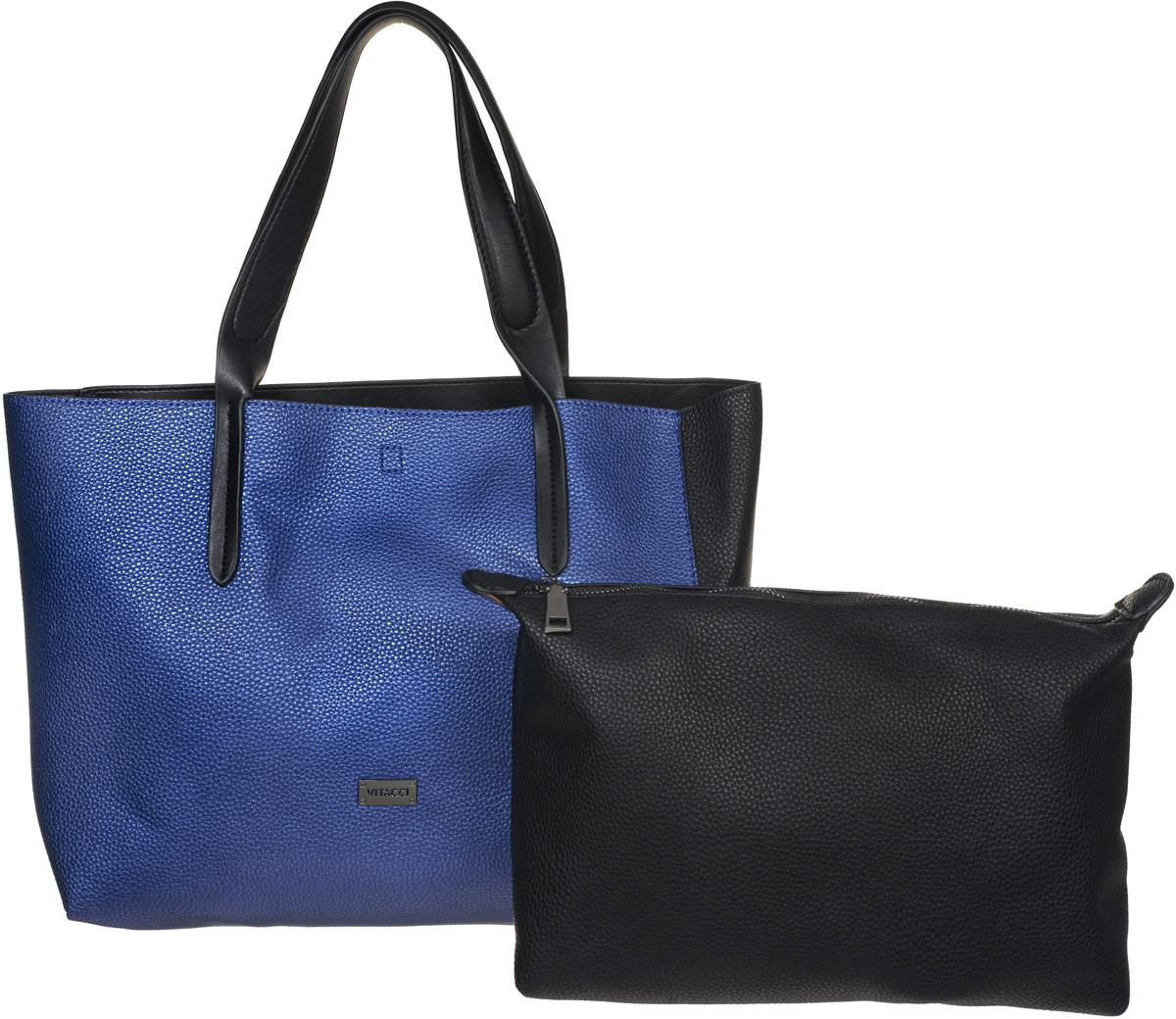 Сумка женская Vitacci, цвет: синий, черный. DN010DN010Изысканная женская сумка Vitacci идеально дополнит ваш образ. Она изготовлена из качественной искусственной кожи зернистой текстуры и оформлена металлической пластинкой с названием бренда. Сумка оснащена удобными ручками, с помощью которых изделие можно носить как в руках, так и на плече. К сумке прилагается съемное отделение из искусственной кожи с текстильной подкладкой, внутри которого содержится один вшитый карман на молнии. Изделие закрывается ремешками-завязками. Роскошная и модная сумка внесет элегантные нотки в ваш образ и подчеркнет ваш неповторимый стиль.