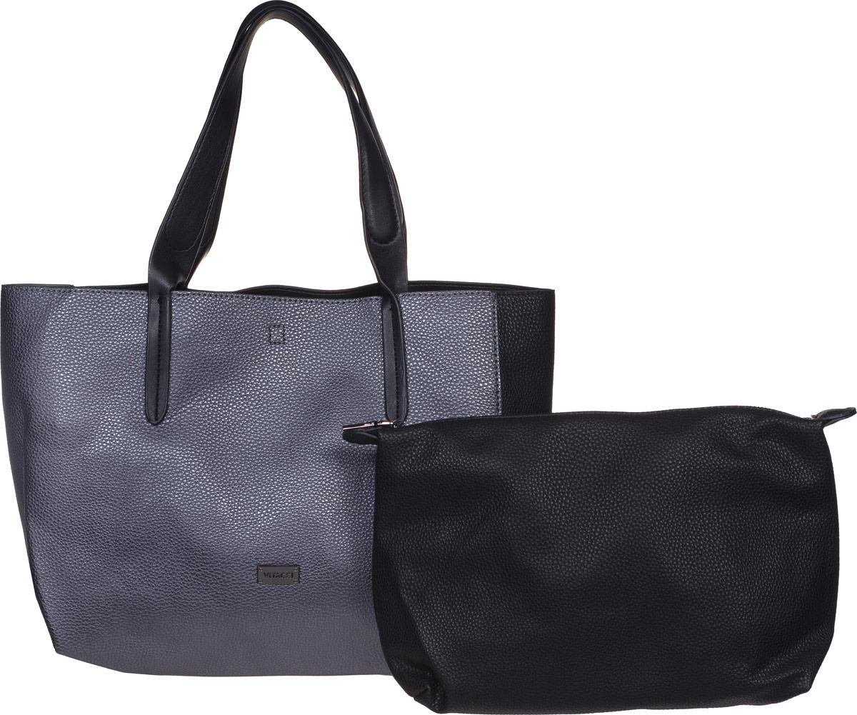 Сумка женская Vitacci, цвет: черный, серый. DN009DN009Стильная сумка Vitacci выполнена из искусственной кожи с зернистой фактурой и оснащена удобной ручкой для переноски. Длина ручки с одинаковым удобством позволяет носить изделие как на плече, так и на запястье. Сумка завязывается на шнурки, внутри имеет одно вместительное отделение и съемный вкладыш на застежке-молнии. Внутри съемного вкладыша имеется прорезной карман на молнии для телефона, документов и прочих мелочей. Изделие декорировано металлическим элементом с фирменной гравировкой. Сумка Vitacci - это выбор молодой, уверенной, стильной женщины, которая ценит качество и комфорт. Изделие станет изысканным дополнением к вашему образу.