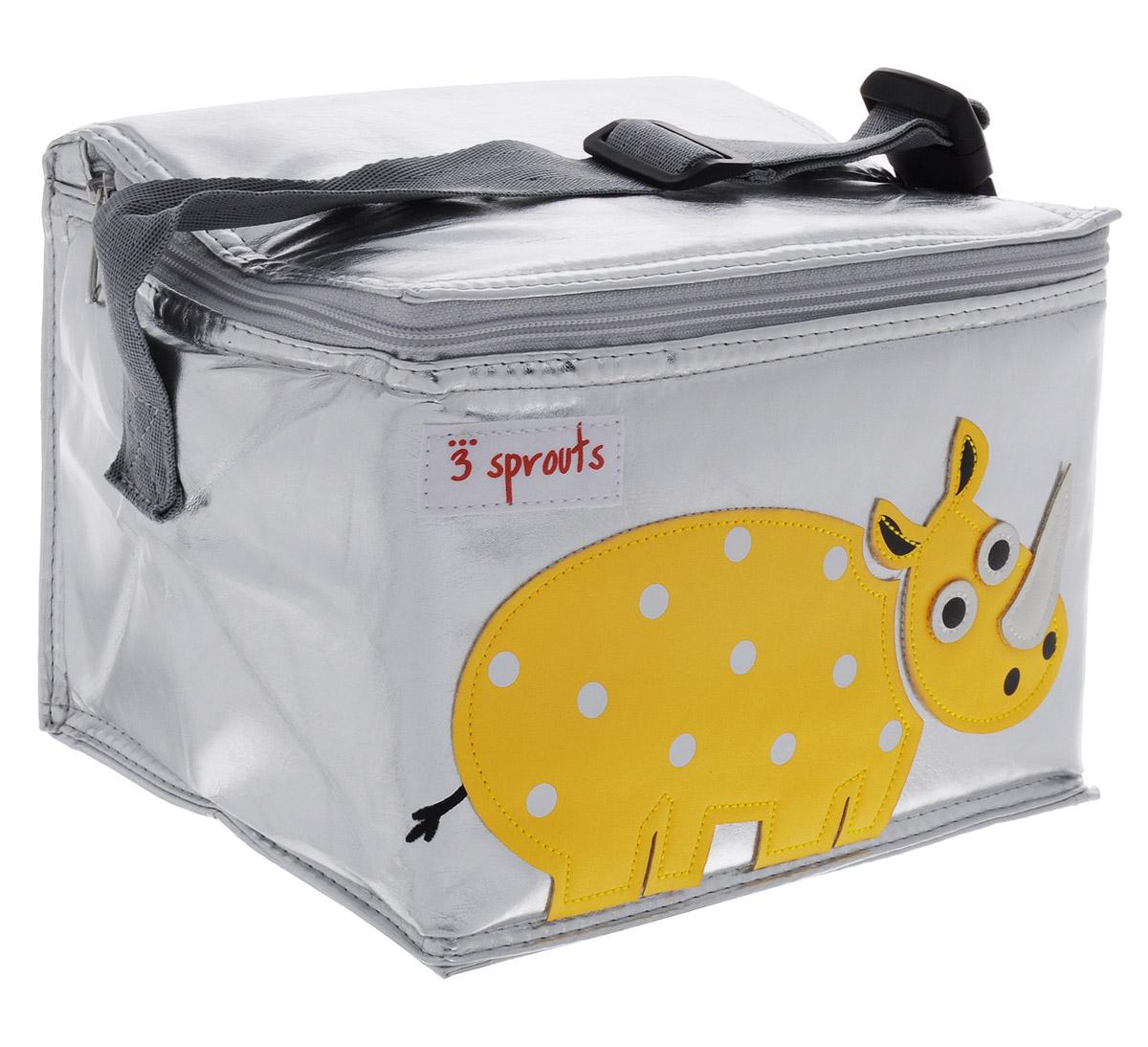3 Sprouts Сумка для обеда Желтый носорог00003Сумка для обеда 3 Sprouts Желтый носорог идеальна для контейнеров, так что вы можете отправить детей в школу вместе с сытными закусками и обедами. В этой сумке еда не нагреется. Мыть ее чрезвычайно легко. Специальная бирка на внутренней поверхности сумки предназначена для указания имени ребенка. Прочная застежка-молния, хорошая вместительность, стильный серебристый цвет и красивая аппликация делают использование этой сумки удобным и приятным для ребенка. Регулируемый ремешок с защелкой позволит прикрепить сумку к рюкзаку или другой сумке. Сумка изготовлена без применения фталатов, PVC и свинца.