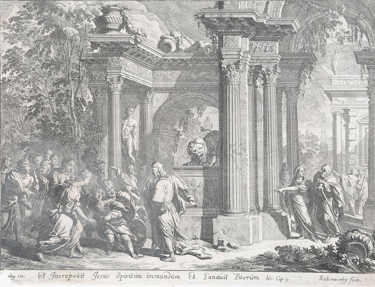 Евангельские сюжеты. Гравюра. Фландрия, конец XVII векаНВА-2 2508 16-15Гравюра. Фландрия, конец XVII века. Гравер Рихард ван Орлей (1663-1732). Рисунок Яна ван Орлея (1665-1735). Размер 20,5 х 26,5 см. Сохранность хорошая. На гравюре представлен эпизод из Евангелия от Матфея: «И запретил ему Иисус, и бес вышел из него; и отрок исцелился в тот час». (Мф. 17, 18). Не подлежит вывозу за пределы Российской Федерации.