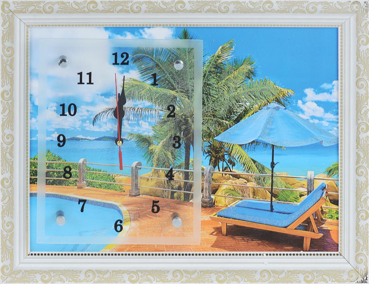 Часы-картина настенные Proffi Home Тропический рай, 30 х 40 смВ6Настенные кварцевые часы-картина Proffi Home Тропический рай, изготовленные из ДВП и стекла, прекрасно подойдут под интерьер вашего дома. Прямоугольные часы имеют три стрелки: часовую, минутную и секундную. Изделие оформлено рамкой с красивым узором. Размер изделия: 30 х 40 см. Часы работают от 1 батарейки типа АА напряжением 1,5 В. Батарейка в комплект не входит.