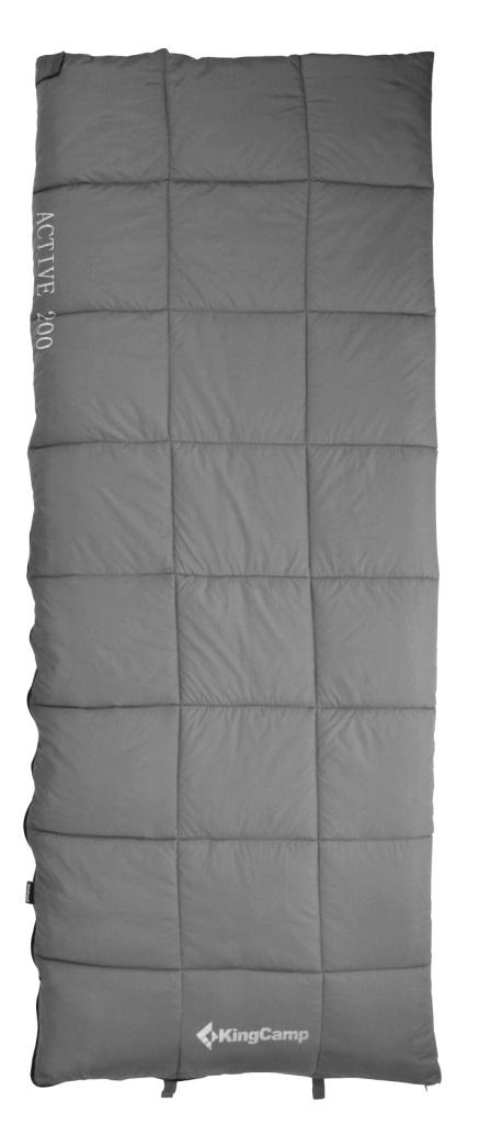 Спальник - одеяло KingCamp ACTIVE 200 -2С, цвет: серыйУТ-000055691Спальный мешок ACTIVE 200 Артикул: KS 3188 Синтетический спальник-одеяло для трех сезонов Размеры в упакованном виде: 32 см х 20 см Размеры: 190х75 см Вес: 1300 г Внешний материал: полиэстер 210Т RipStop W/P; внутренний материал: 100% хлопок (фланель); наполнитель: четырехканальное волокно Hollowfibre, 200 г/м2 Клапан на застежке – молнии Двусторонняя застежка-молния Сумка для переноски из нейлона Температура: комфорт +8С - +16C, экстрим -2С Назначение: треккинг, велотуризм, кемпинг